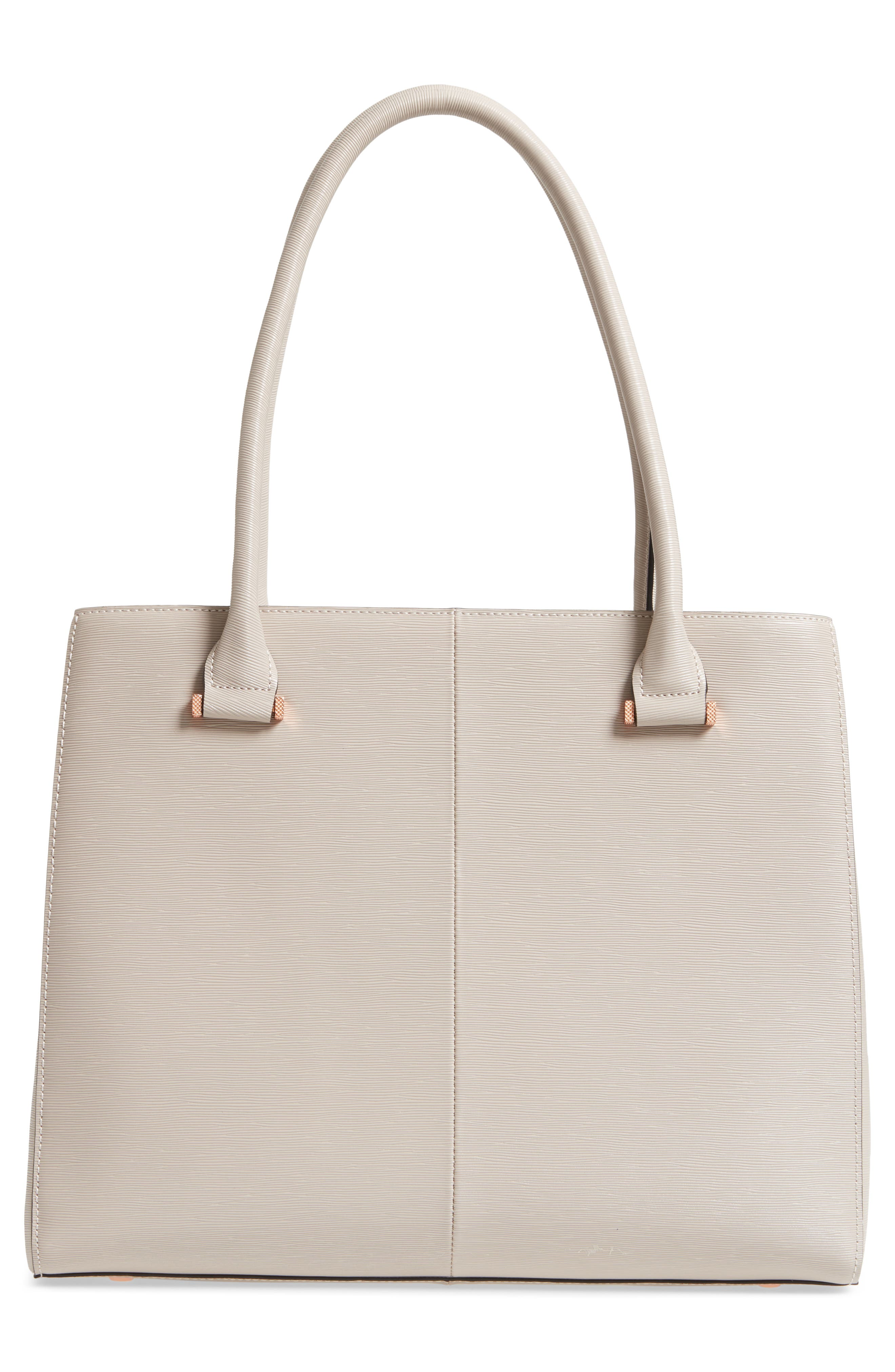 Callaa Bow Leather Shopper,                             Alternate thumbnail 3, color,                             Taupe