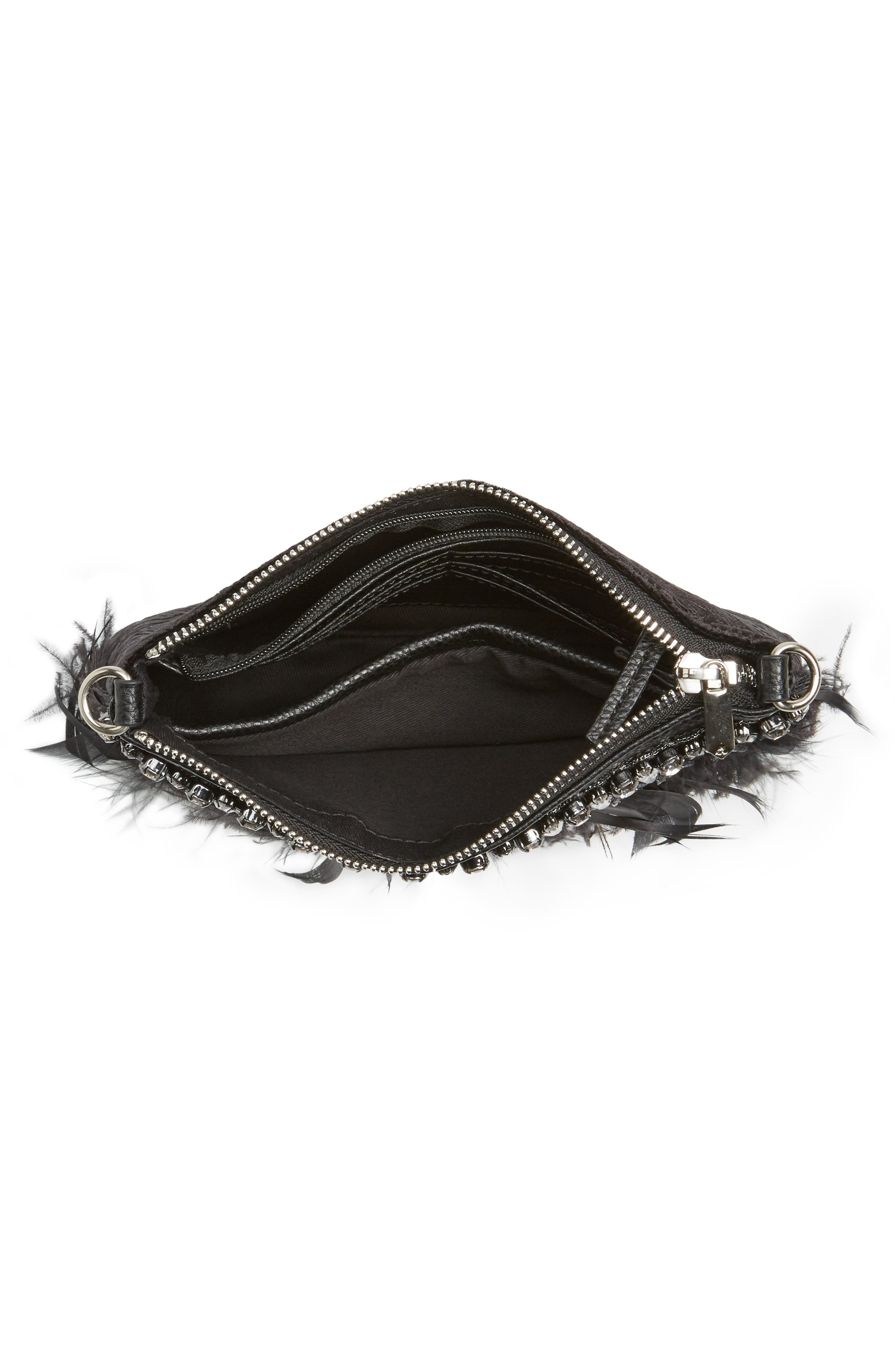 Carrina Faux Leather Convertible Clutch,                             Alternate thumbnail 4, color,                             Black