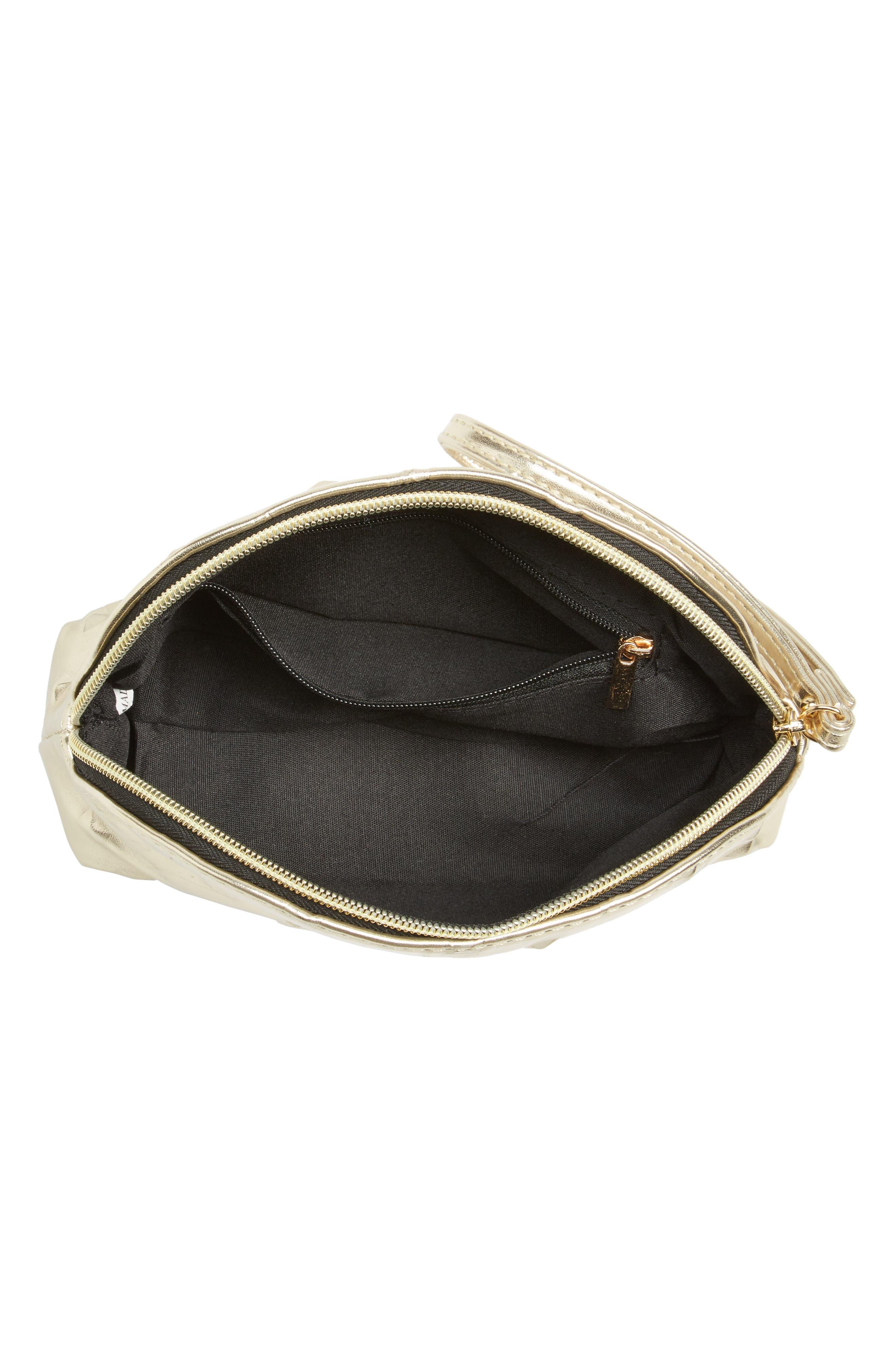 Diamond Embossed Metallic Cosmetics Bag,                             Alternate thumbnail 3, color,                             Gold