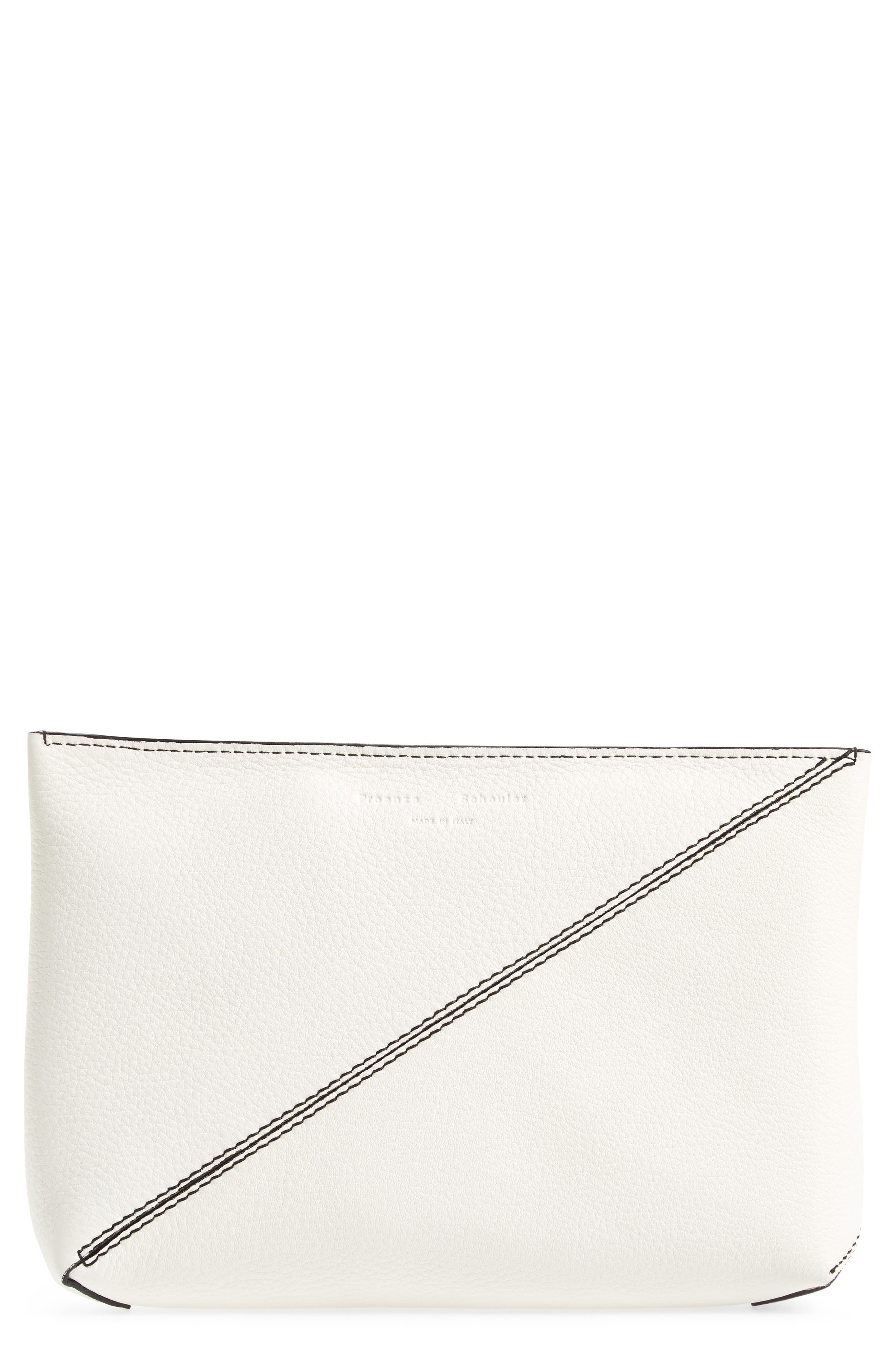 Diagonal Zip Leather Pouch,                             Main thumbnail 1, color,                             White