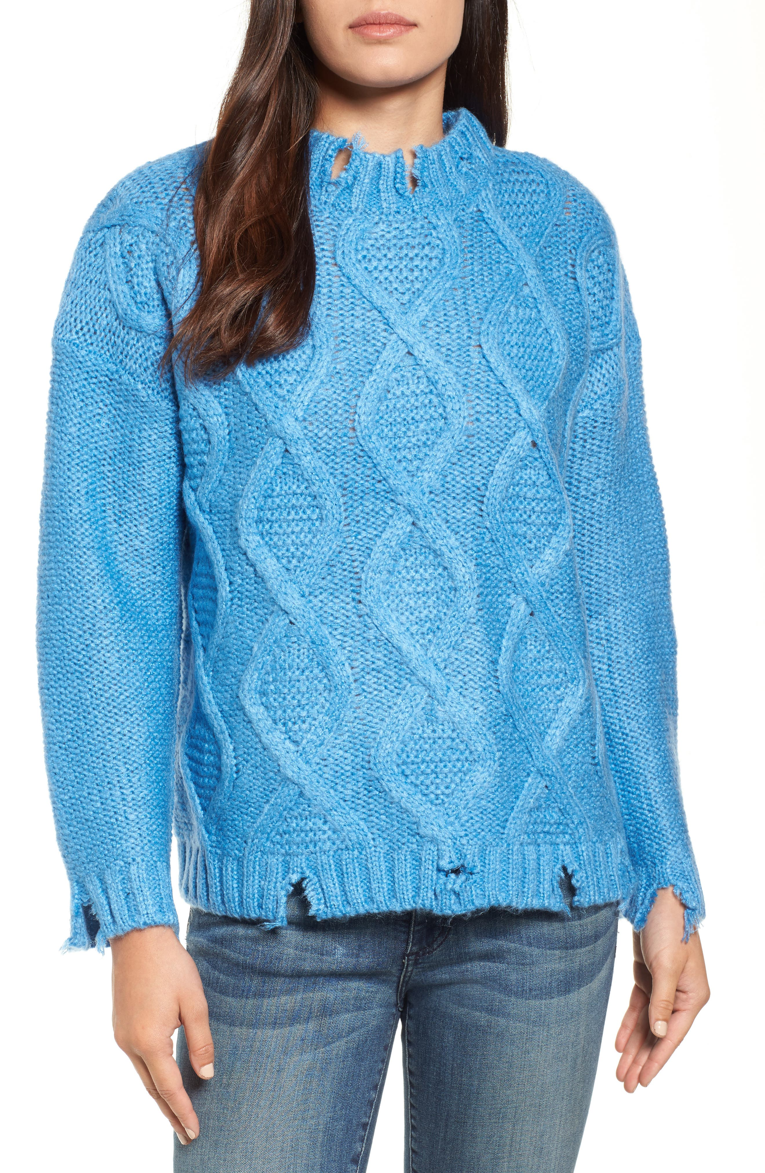 Destroyed Cable Knit Sweater,                         Main,                         color, Turquoise