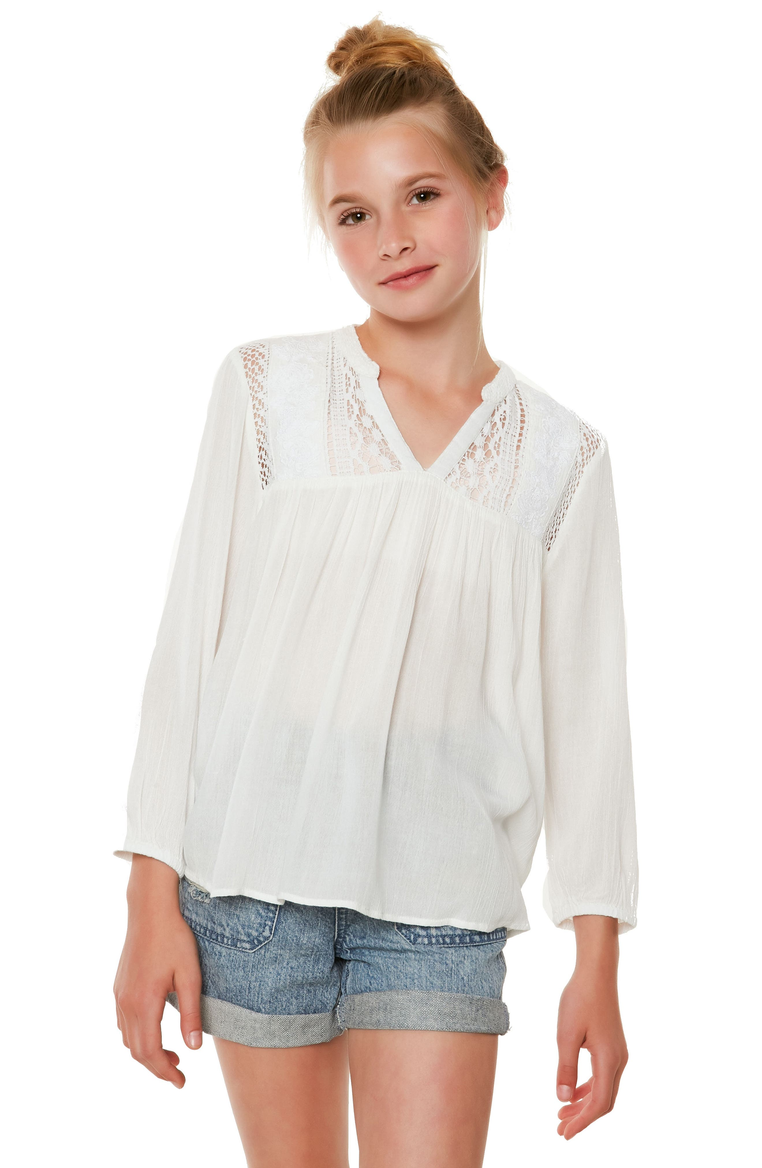 Marion Embroidered Peasant Top,                             Alternate thumbnail 3, color,                             Naked