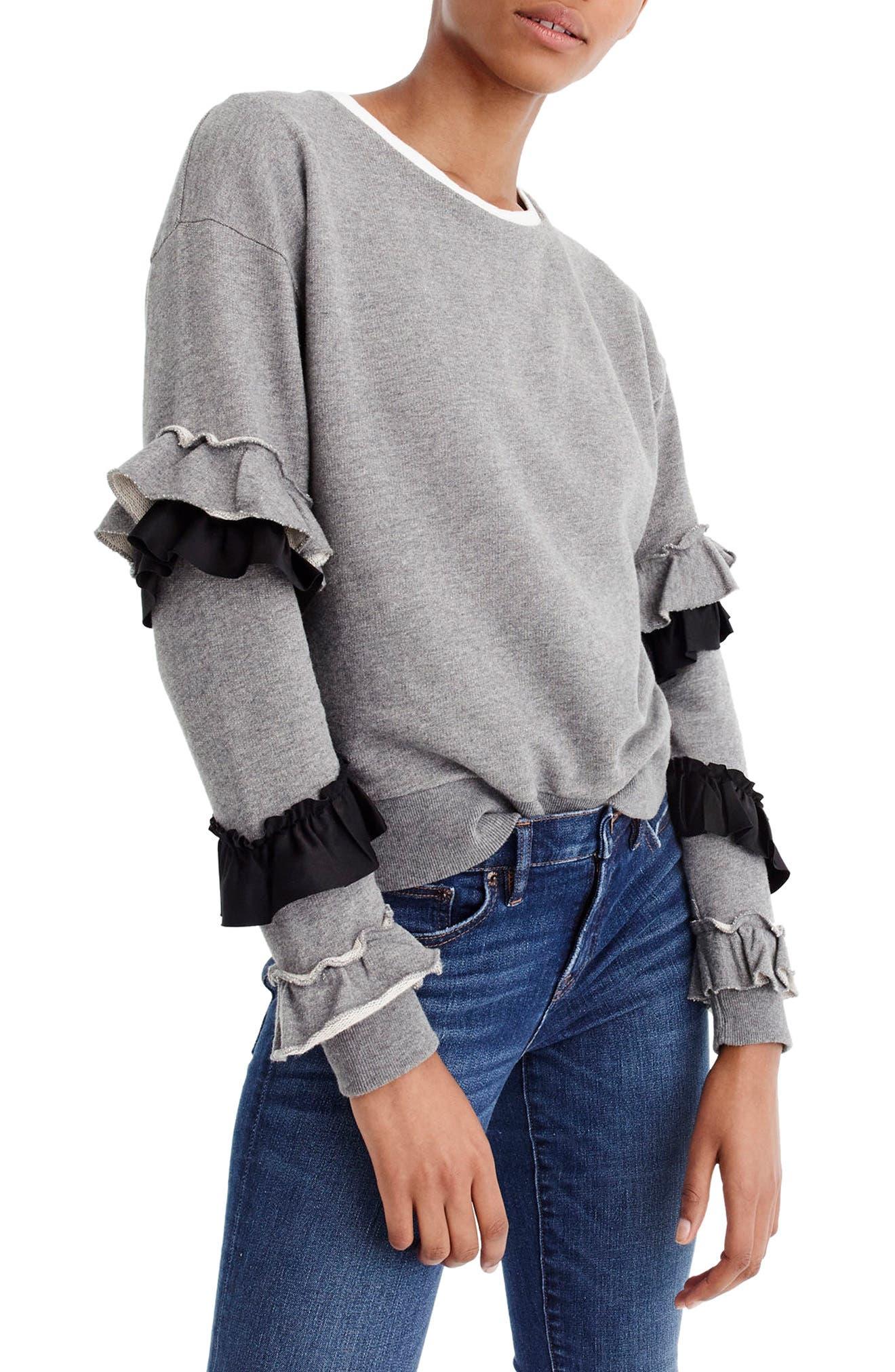 Ruffle Sleeve Sweatshirt,                         Main,                         color, Heather Grey