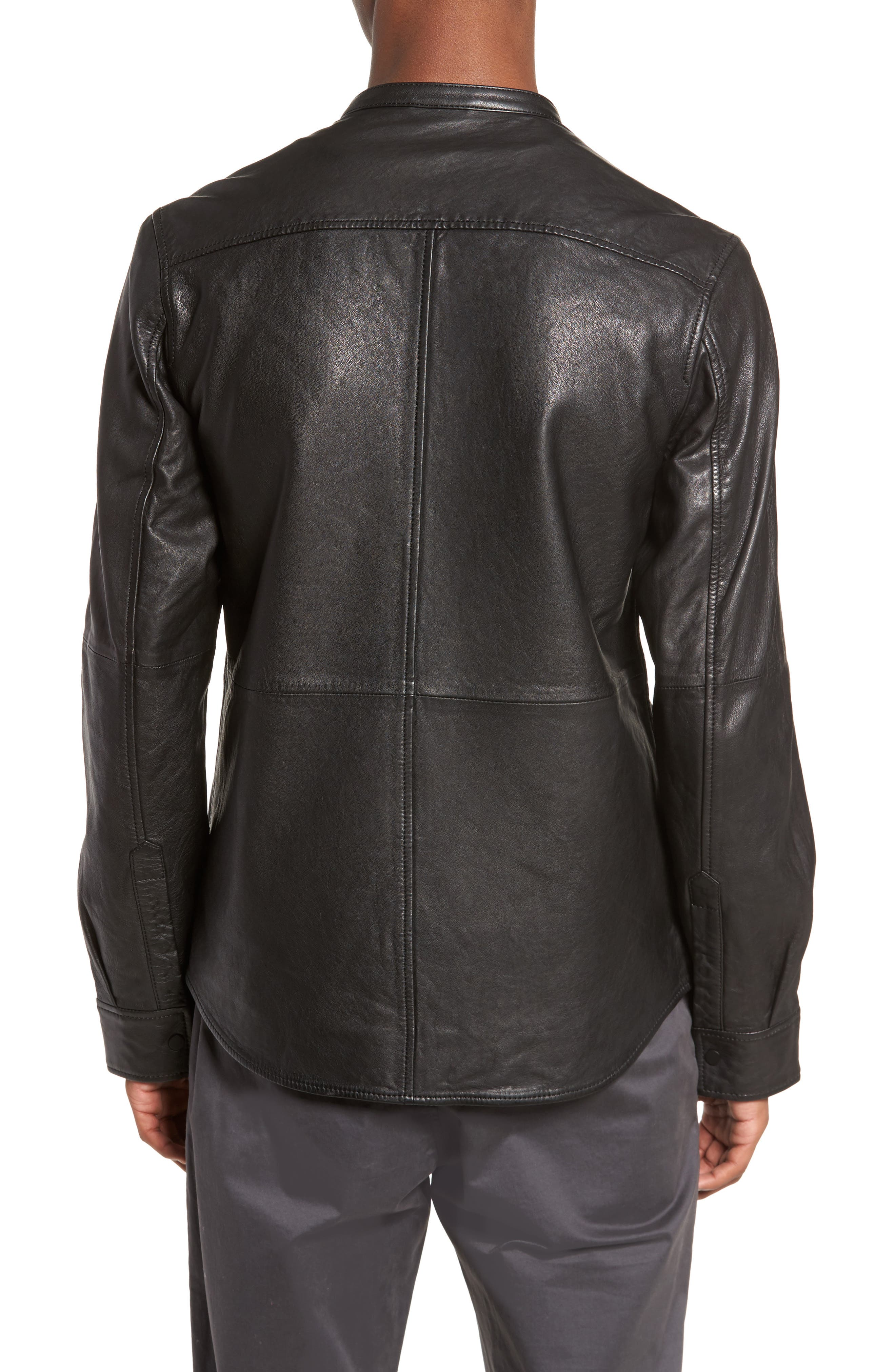Atwater Leather Shirt Jacket,                             Alternate thumbnail 2, color,                             Black