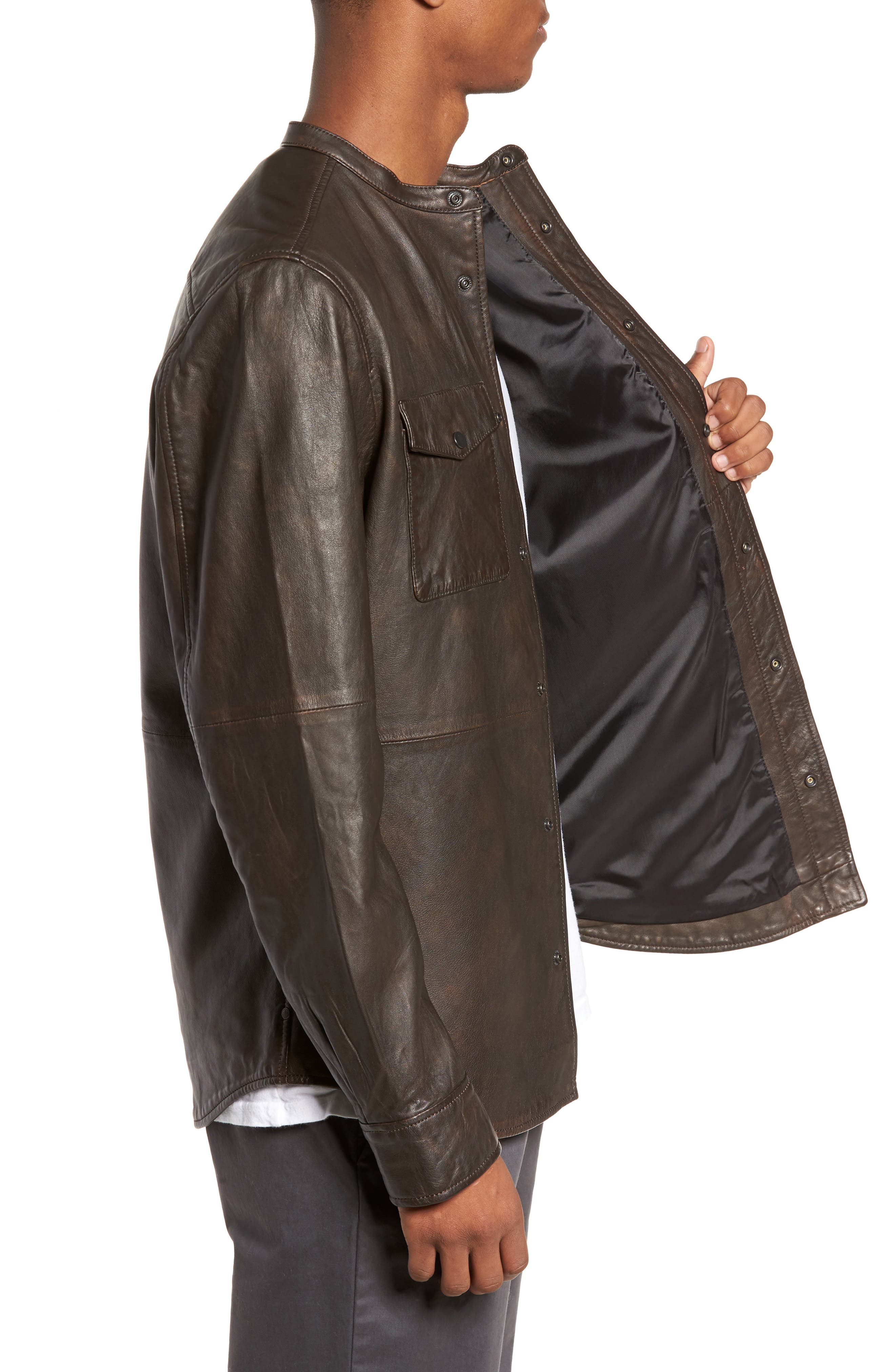 Atwater Leather Shirt Jacket,                             Alternate thumbnail 3, color,                             Brown Chicory