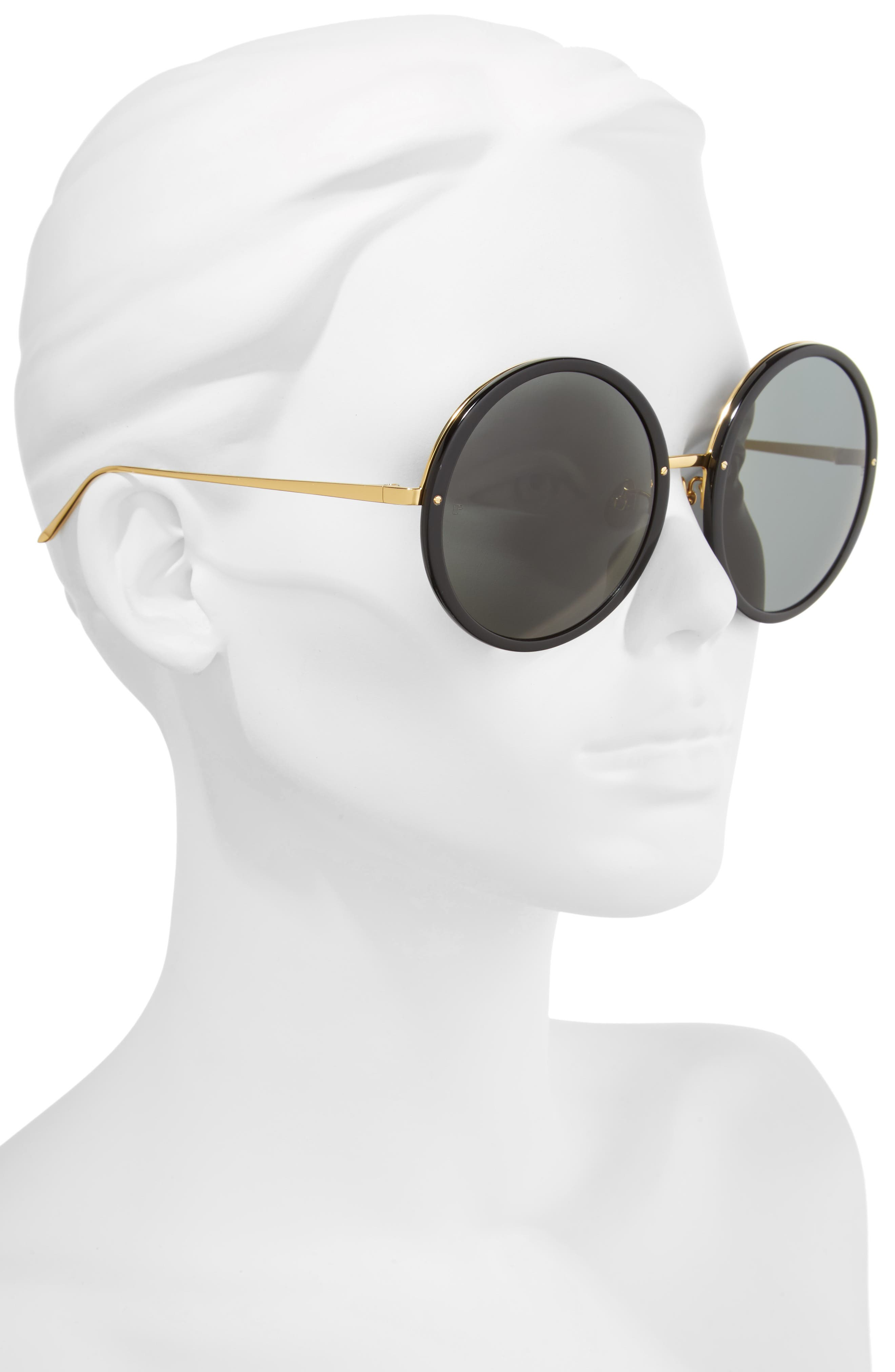 61mm Round 18 Karat Gold Trim Sunglasses,                             Alternate thumbnail 2, color,                             Black/ Yellow Gold/ Grey