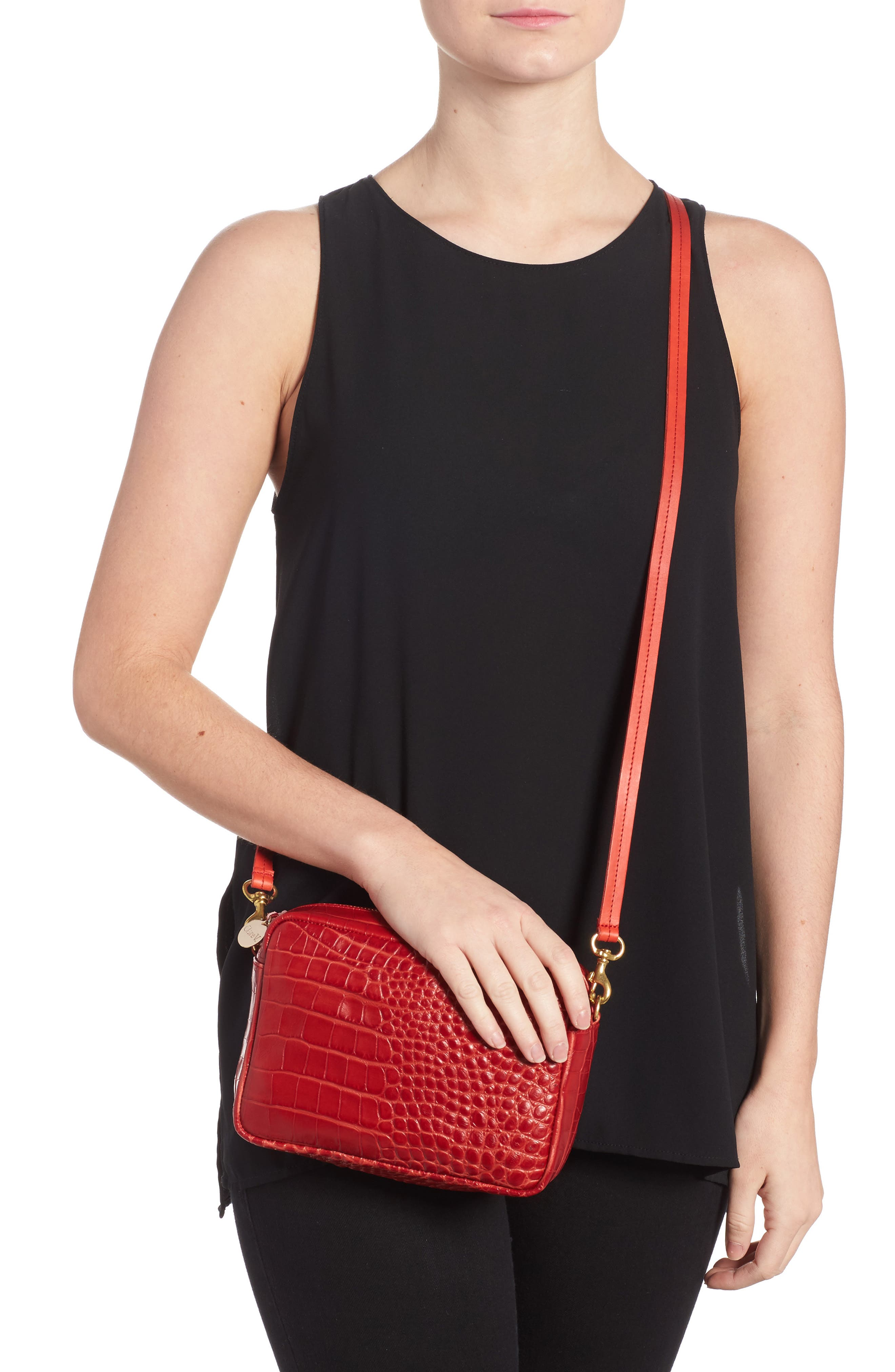 Midi Sac Supreme Croc Embossed Leather Crossbody Bag,                             Alternate thumbnail 2, color,                             Red Croco