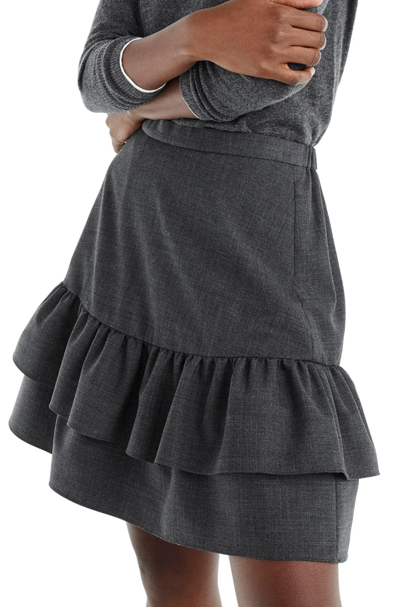 Wool Flannel Ruffle Skirt,                             Alternate thumbnail 3, color,                             Heather Carbon