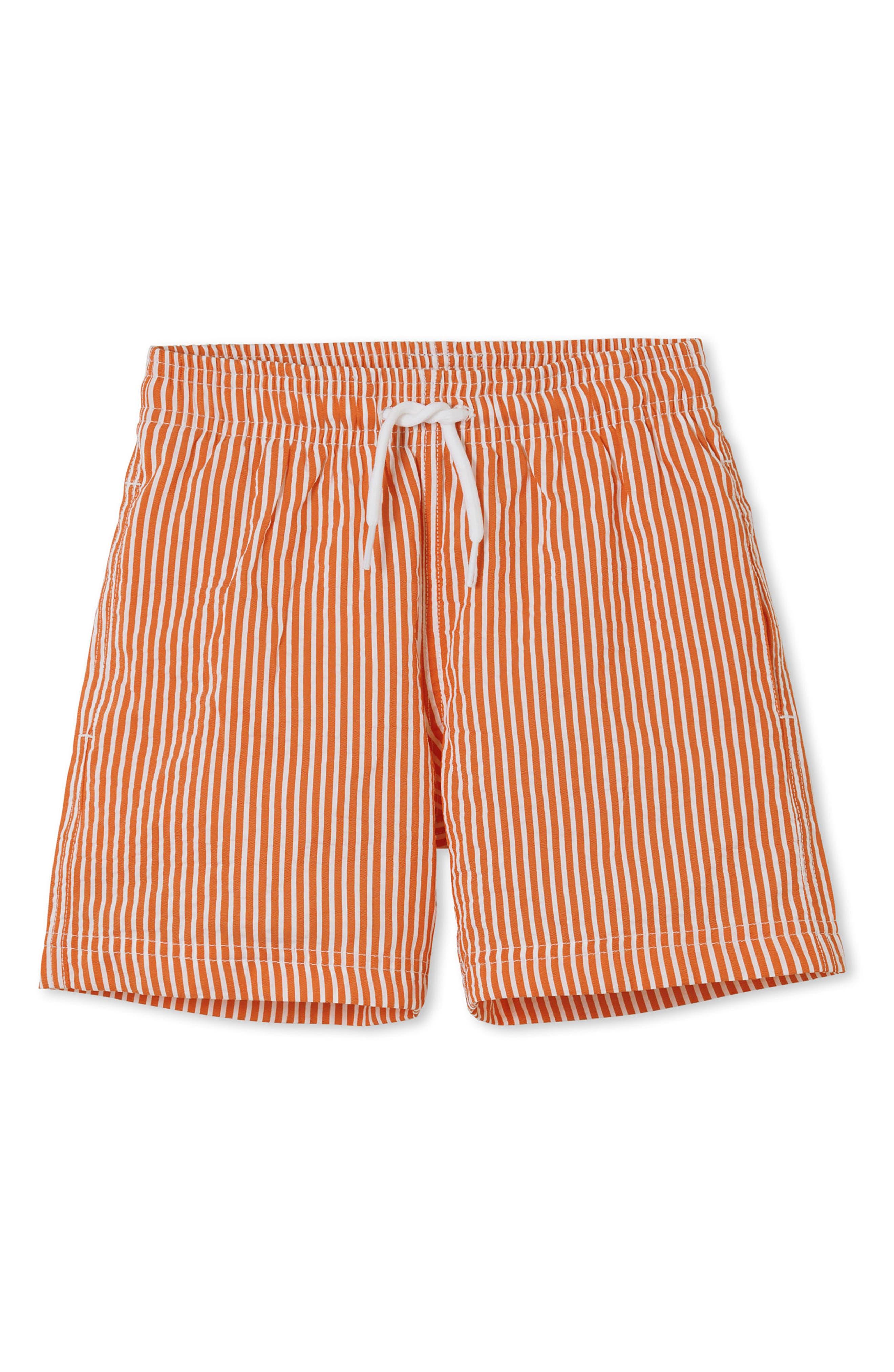 Orange Stripe Swim Trunks,                         Main,                         color, Orange