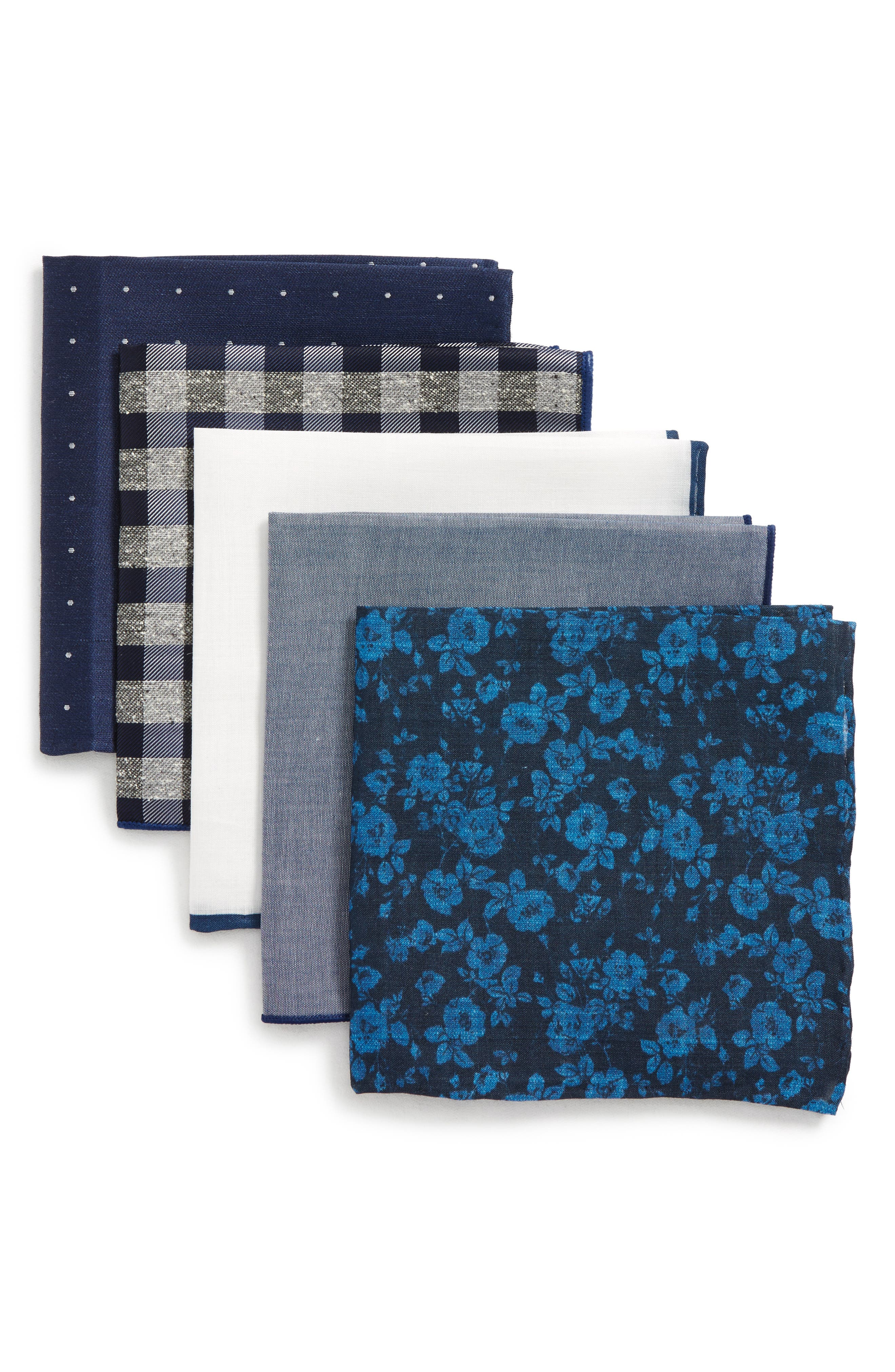 5-Pack Pocket Squares,                         Main,                         color, Navy