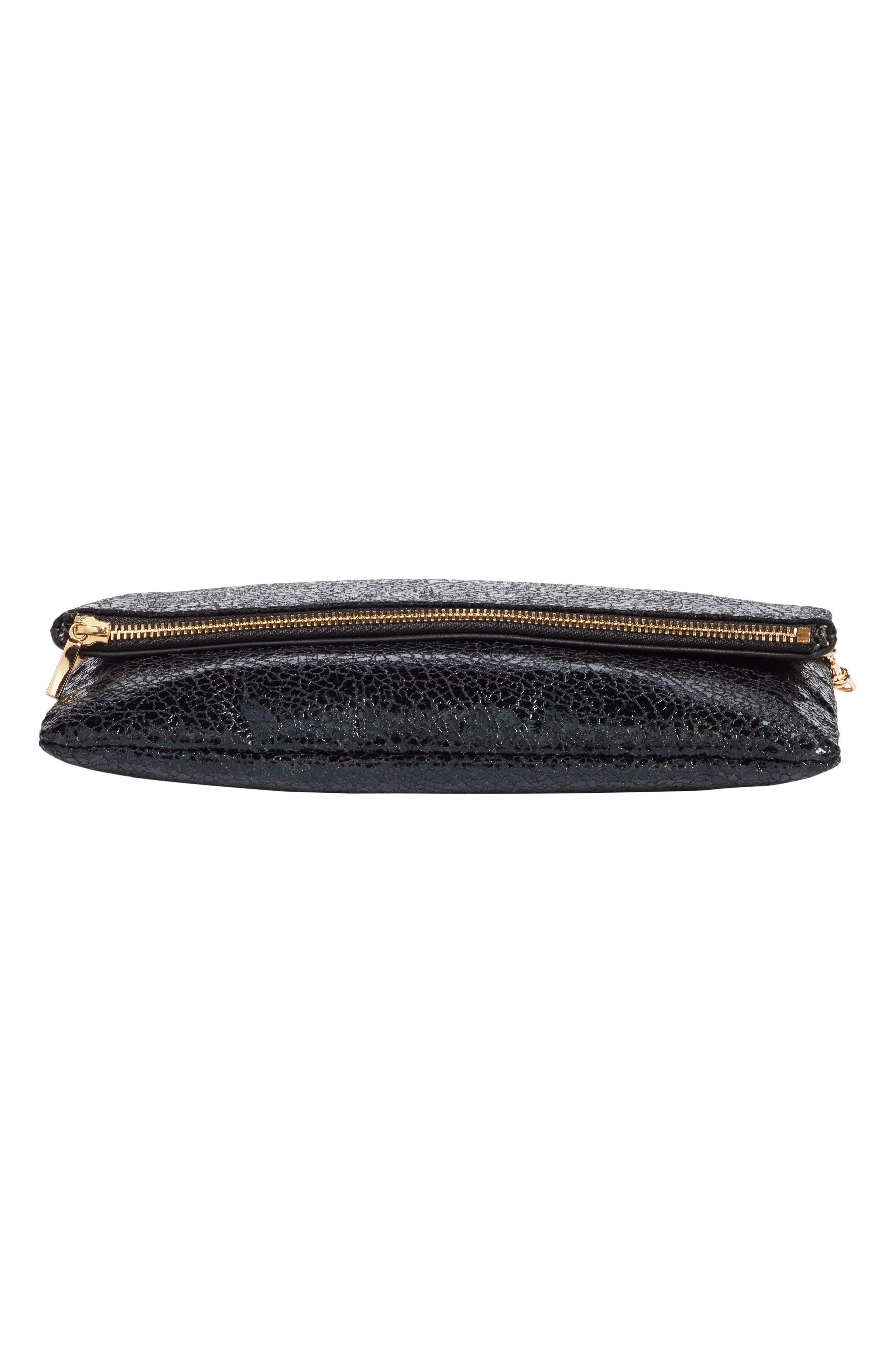 Alternate Image 6  - Sole Society Black Crackle Faux Leather Foldover Clutch