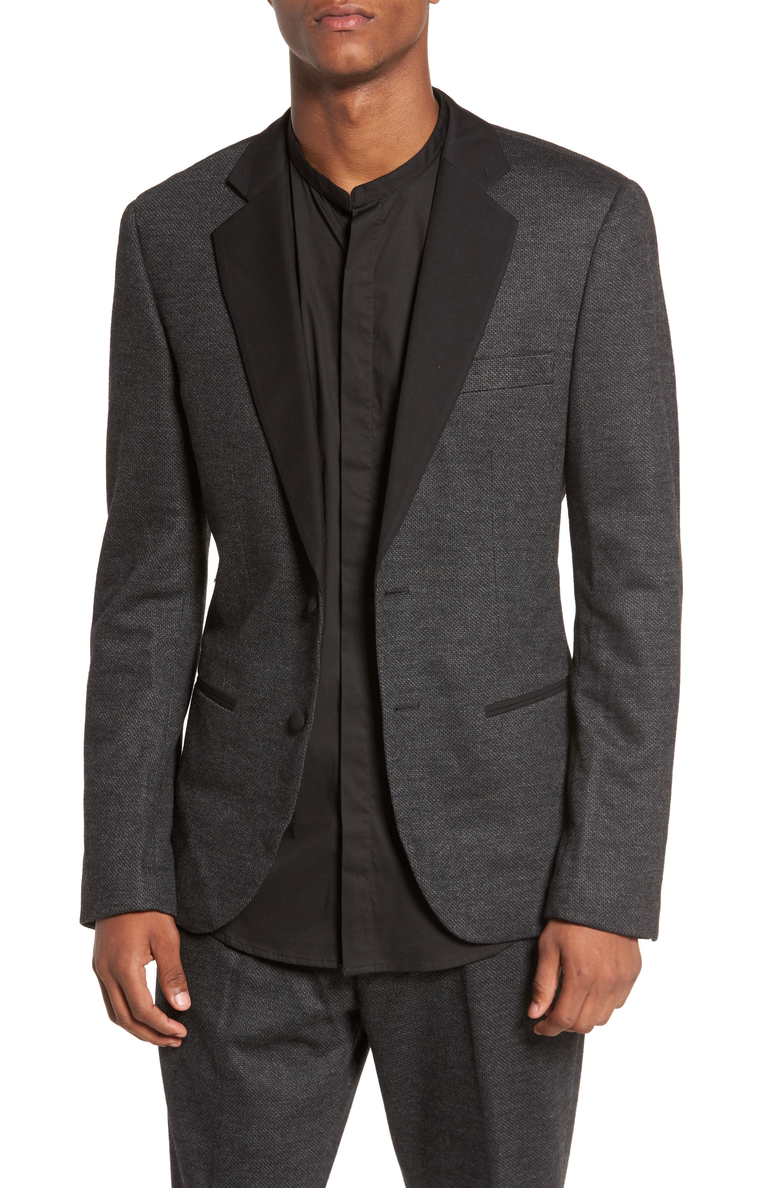 Tuxedo Blazer,                         Main,                         color, Dark Melange