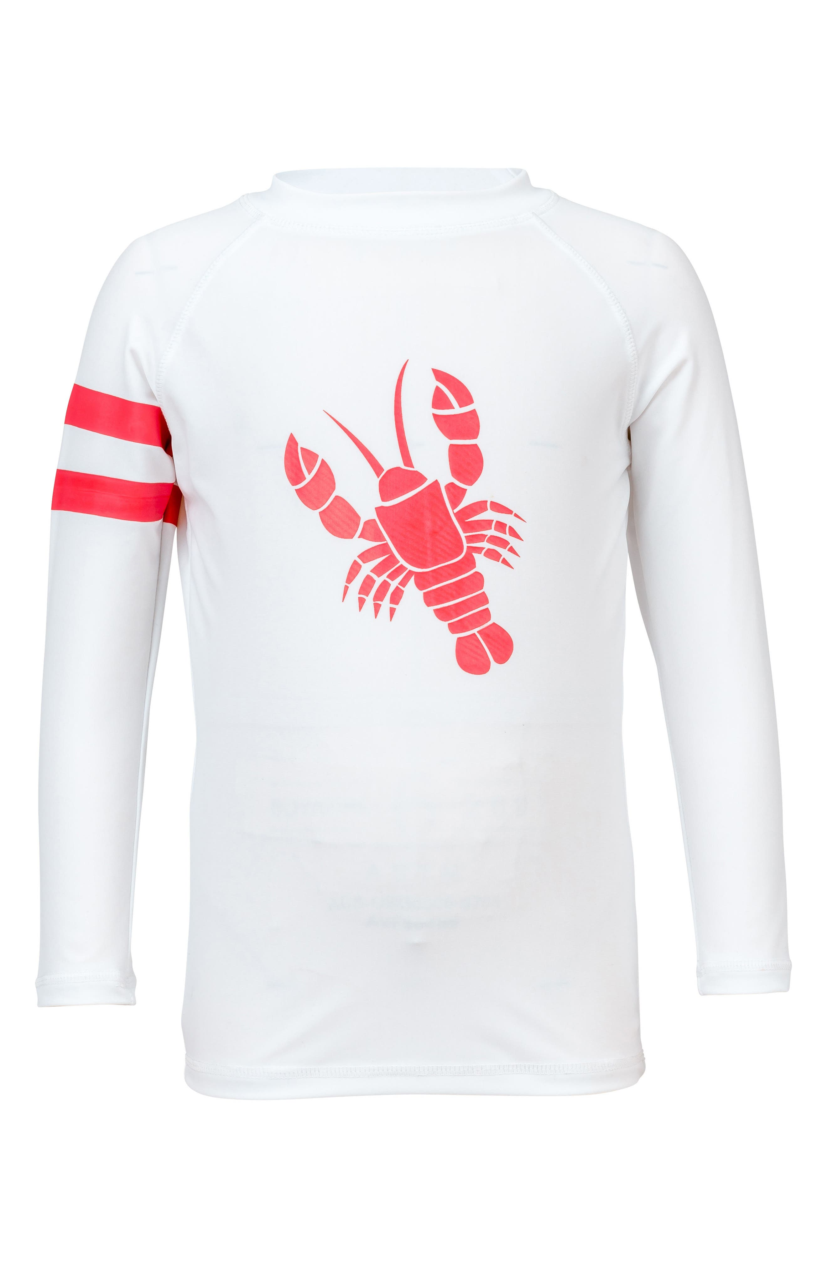 Lobster Long Sleeve Rashguard,                         Main,                         color, White/ Red