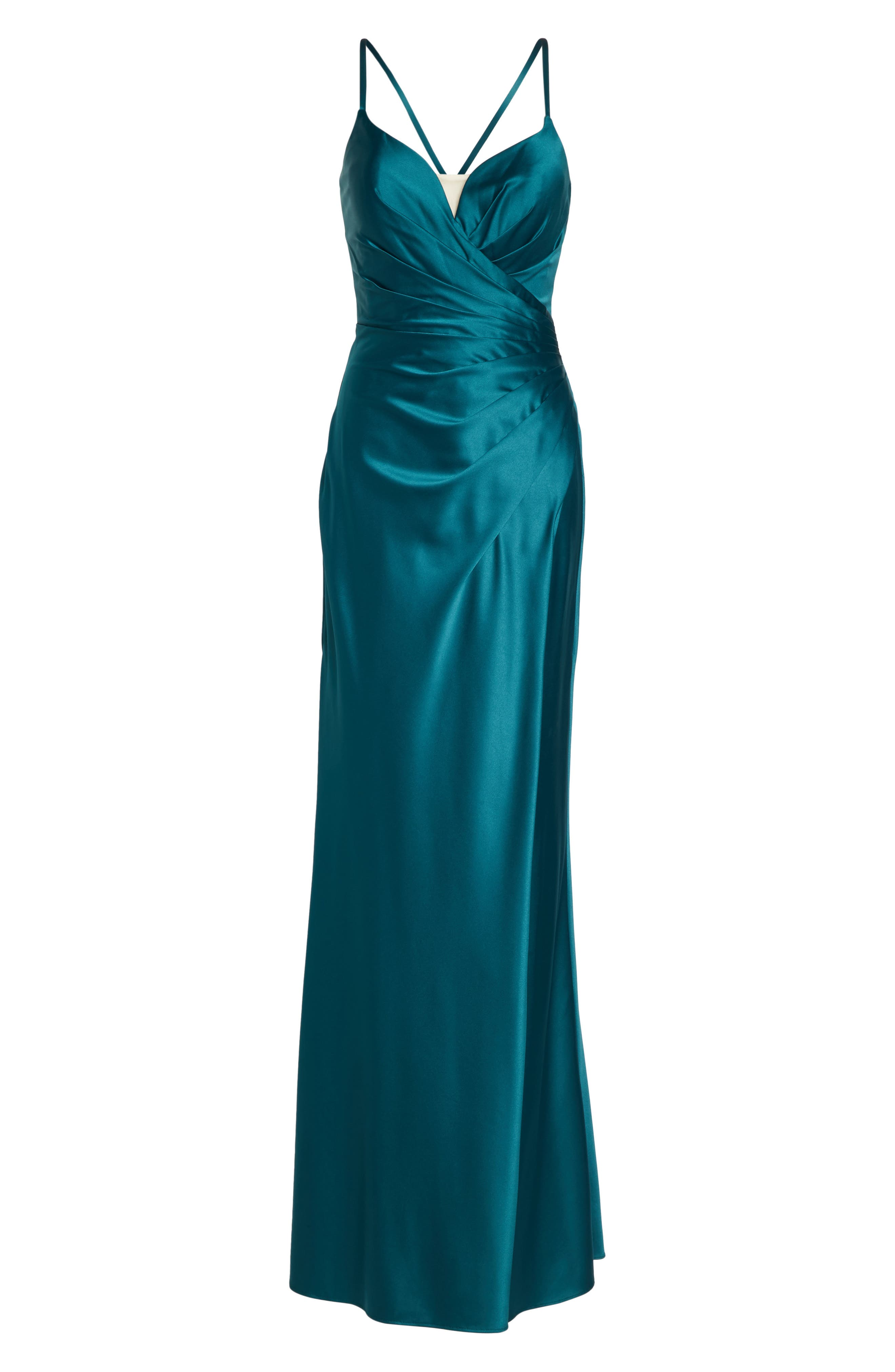 Strappy Ruched Bodice Gown,                             Alternate thumbnail 6, color,                             Forest Green