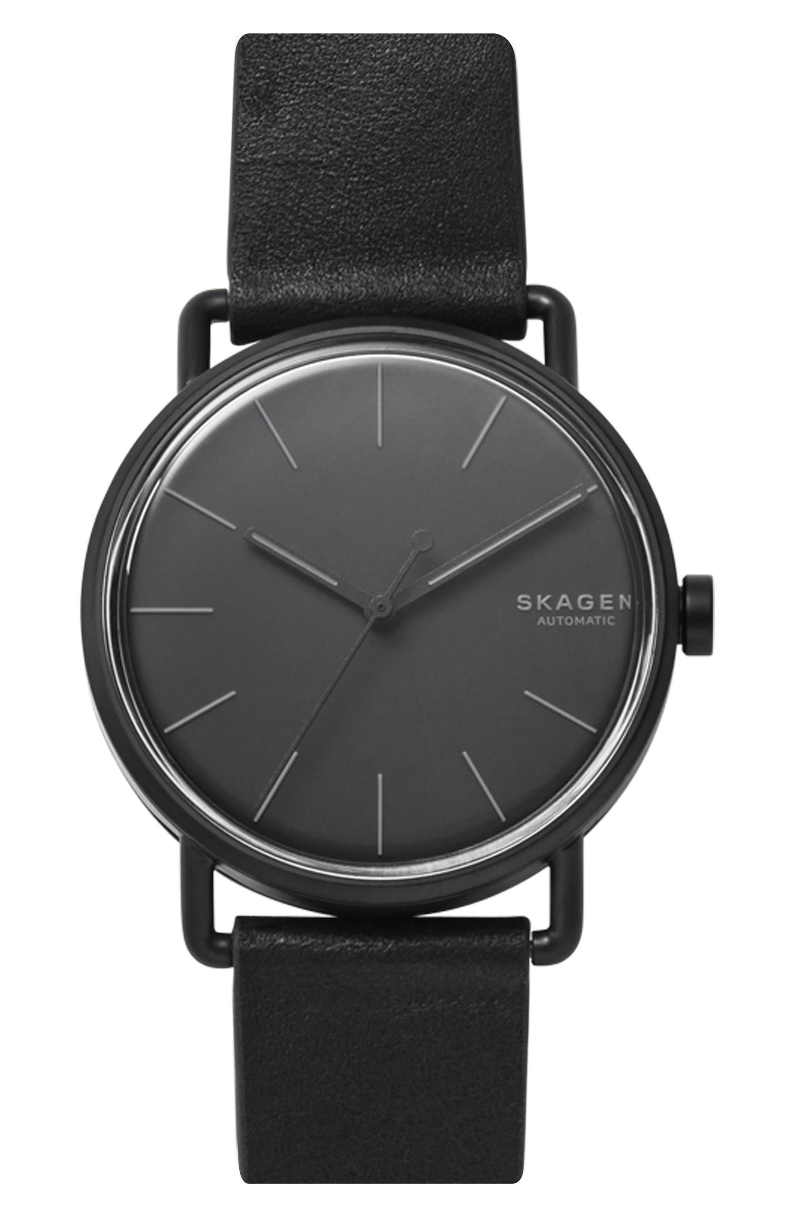 Falster Automatic Leather Strap Watch, 40mm,                         Main,                         color, Black