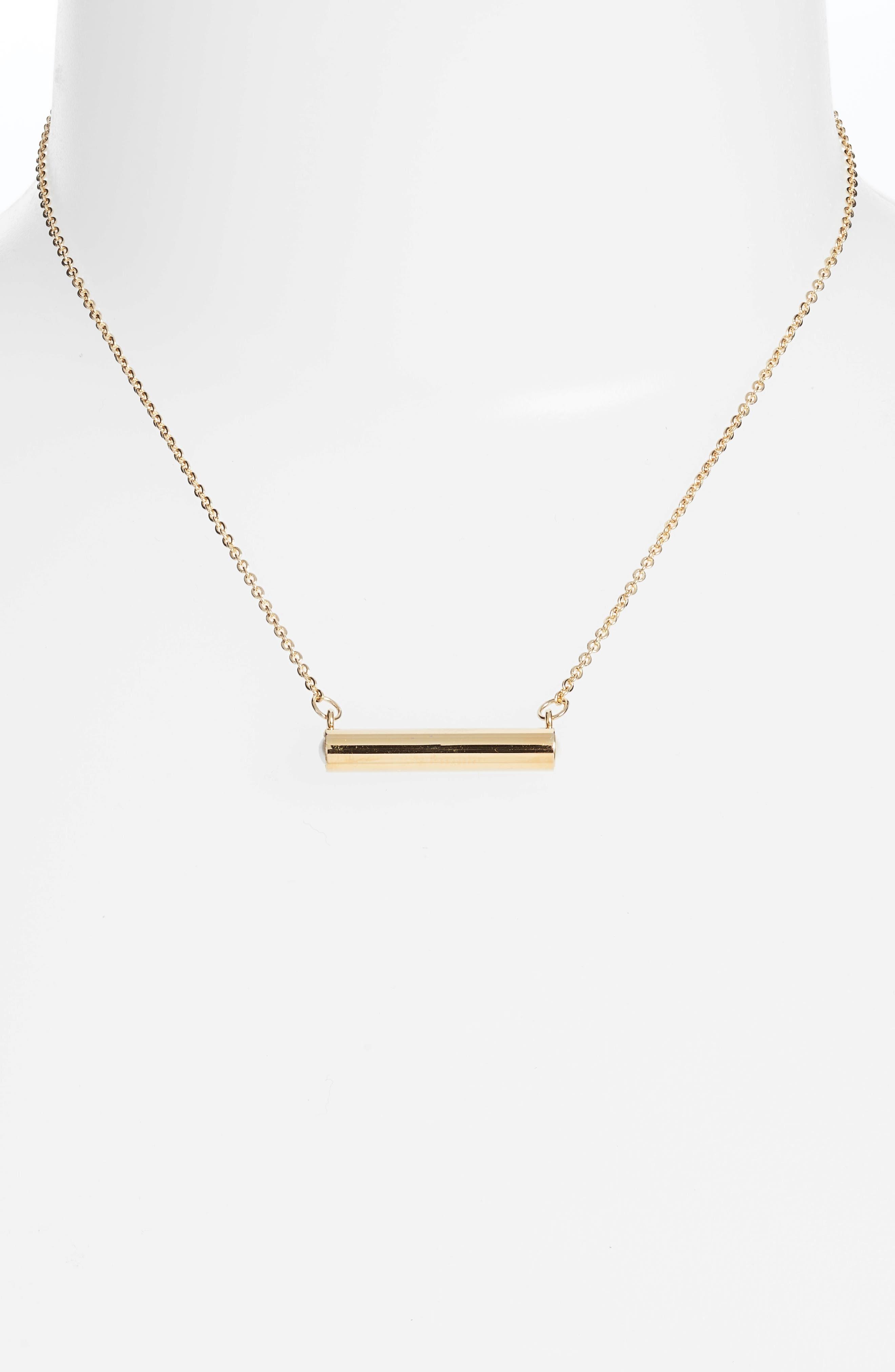 June Imitation Pearl Bar Pendant Necklace,                             Alternate thumbnail 2, color,                             Gold
