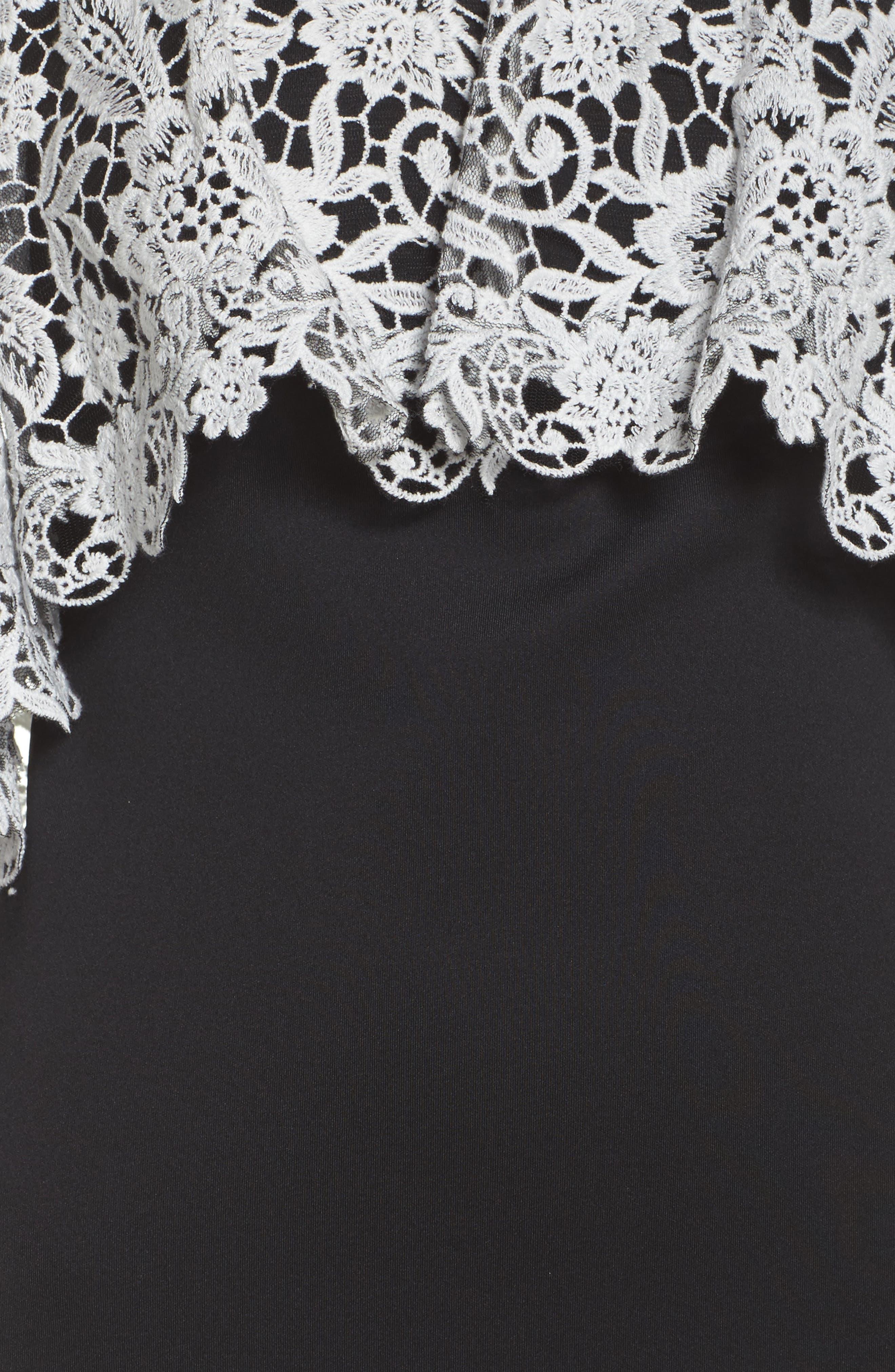 Illusion Neck Cape Dress,                             Alternate thumbnail 5, color,                             Black/ Ivory