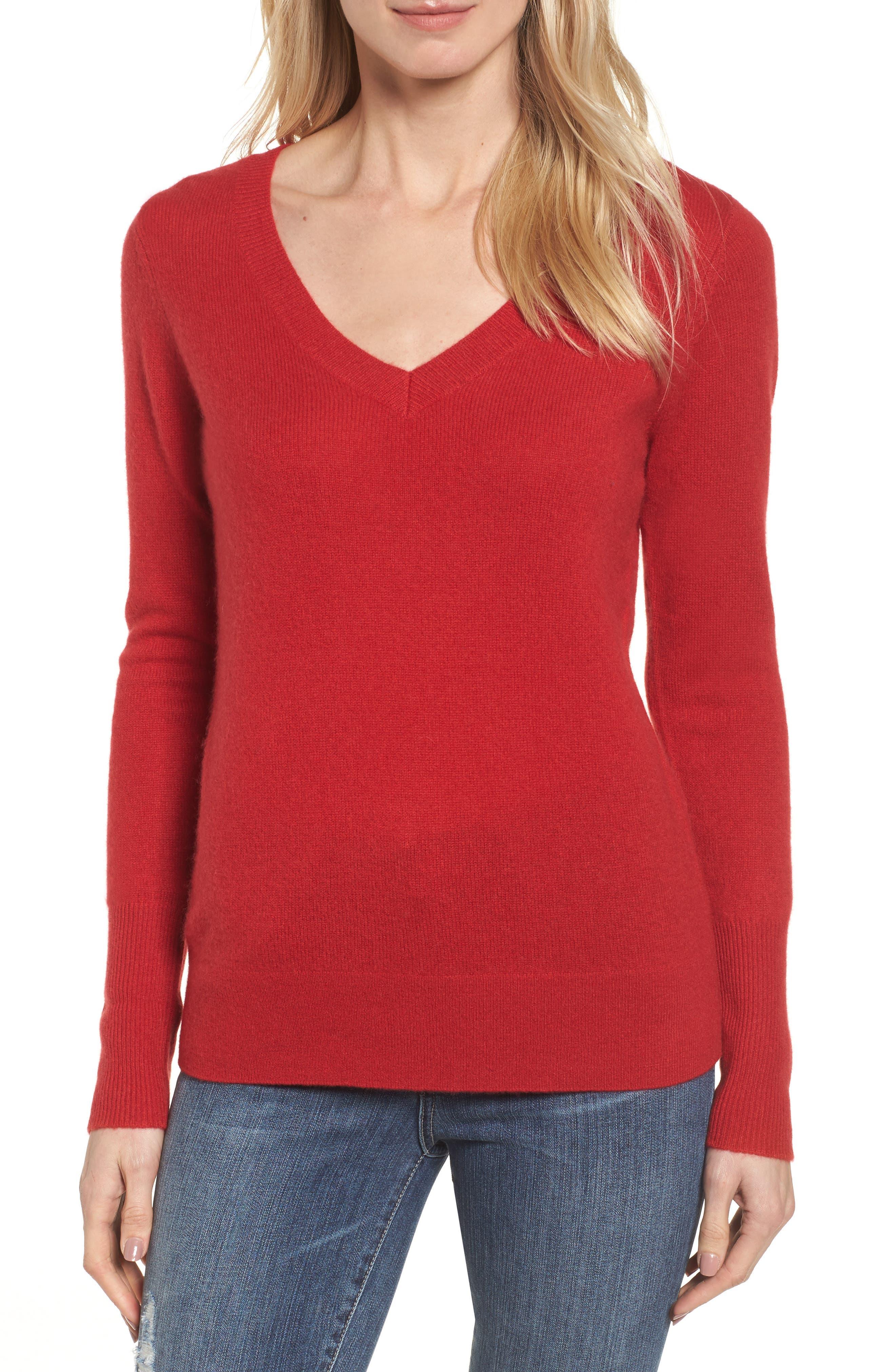 Main Image - Halogen® V-Neck Cashmere Sweater (Regular & Petite)