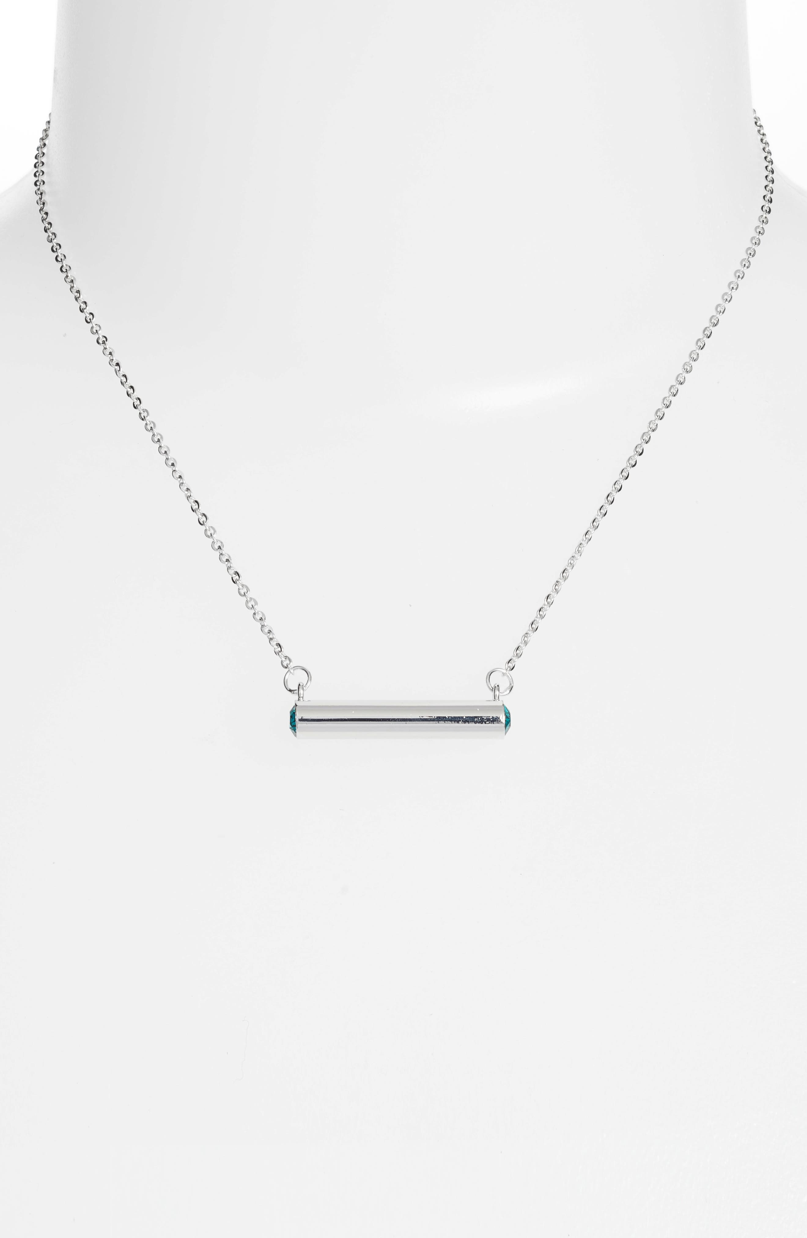 December Crystal Bar Pendant Necklace,                             Alternate thumbnail 2, color,                             Silver
