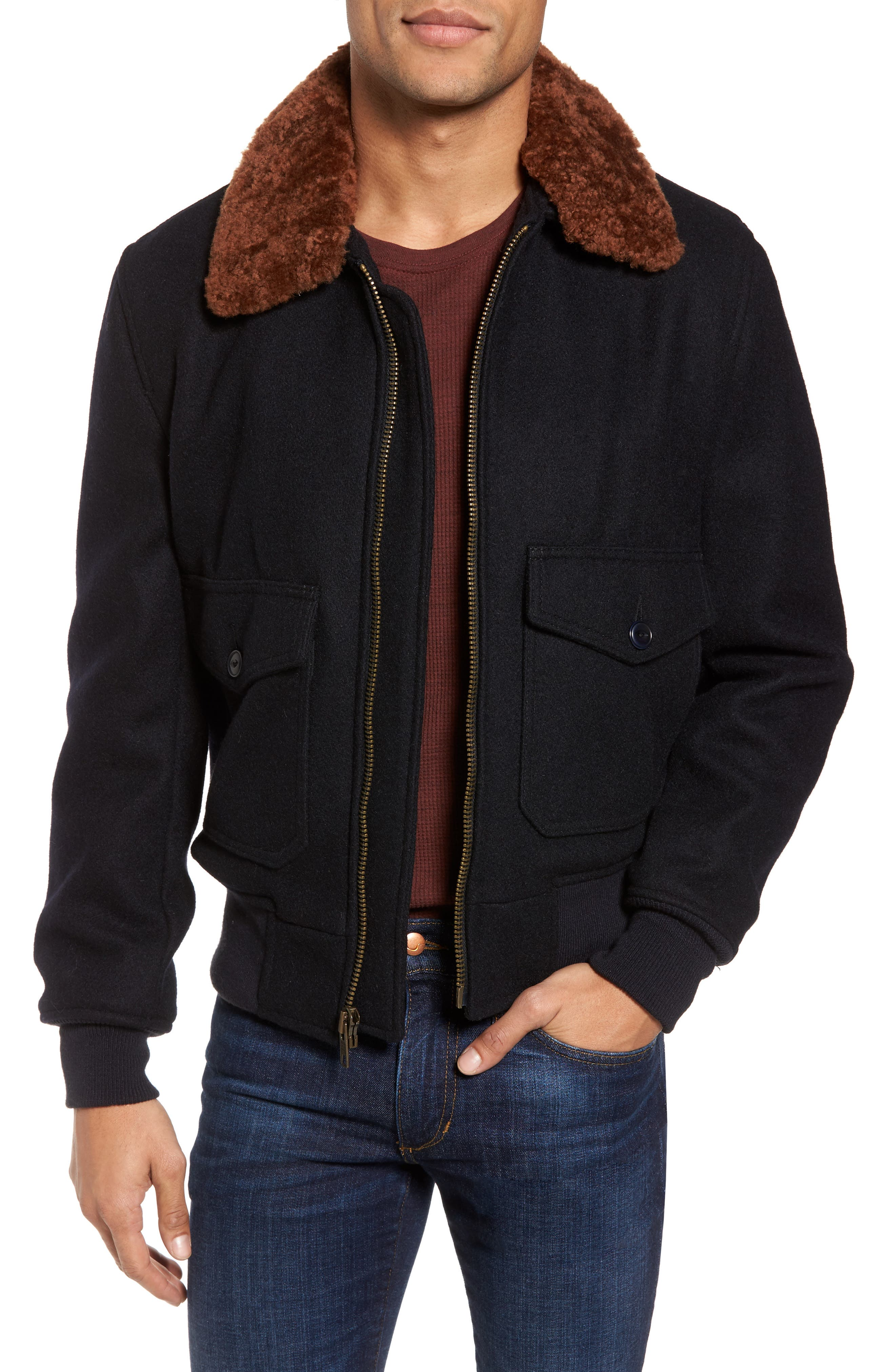 SchottNYC'G-1' Zip Front Bomber with Genuine Shearling Collar,                             Main thumbnail 1, color,                             Ny1
