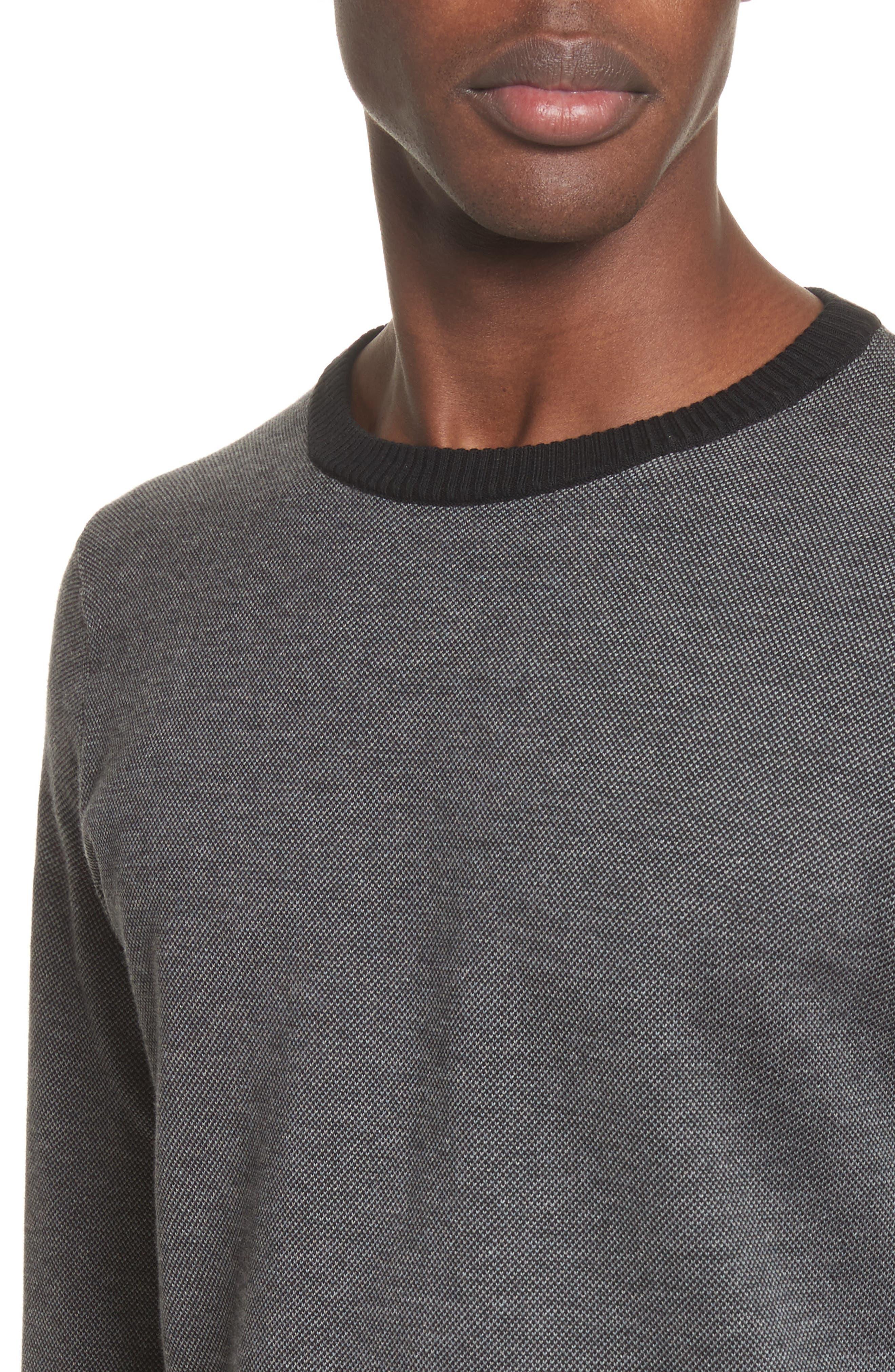 Textured Cotton Sweatshirt,                             Alternate thumbnail 4, color,                             Charcoal