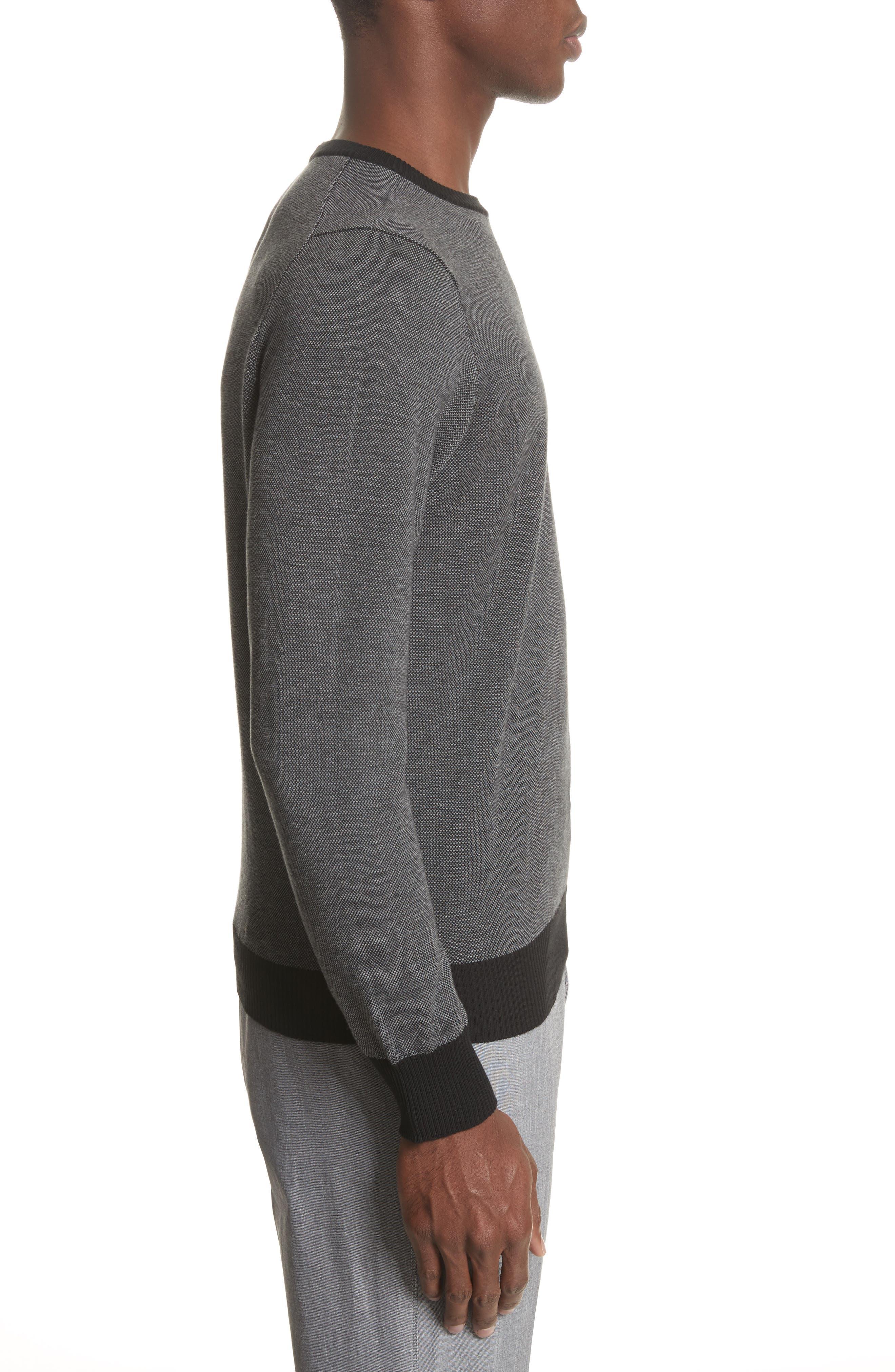 Textured Cotton Sweatshirt,                             Alternate thumbnail 3, color,                             Charcoal