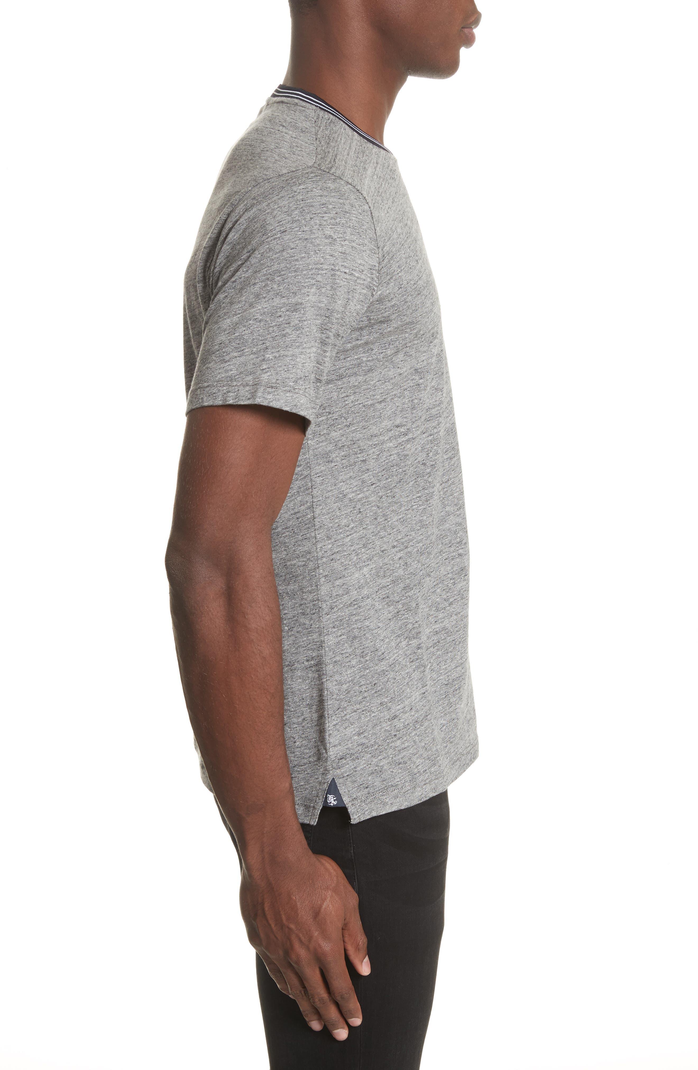 Ribbed Contrast T-Shirt,                             Alternate thumbnail 3, color,                             Grey