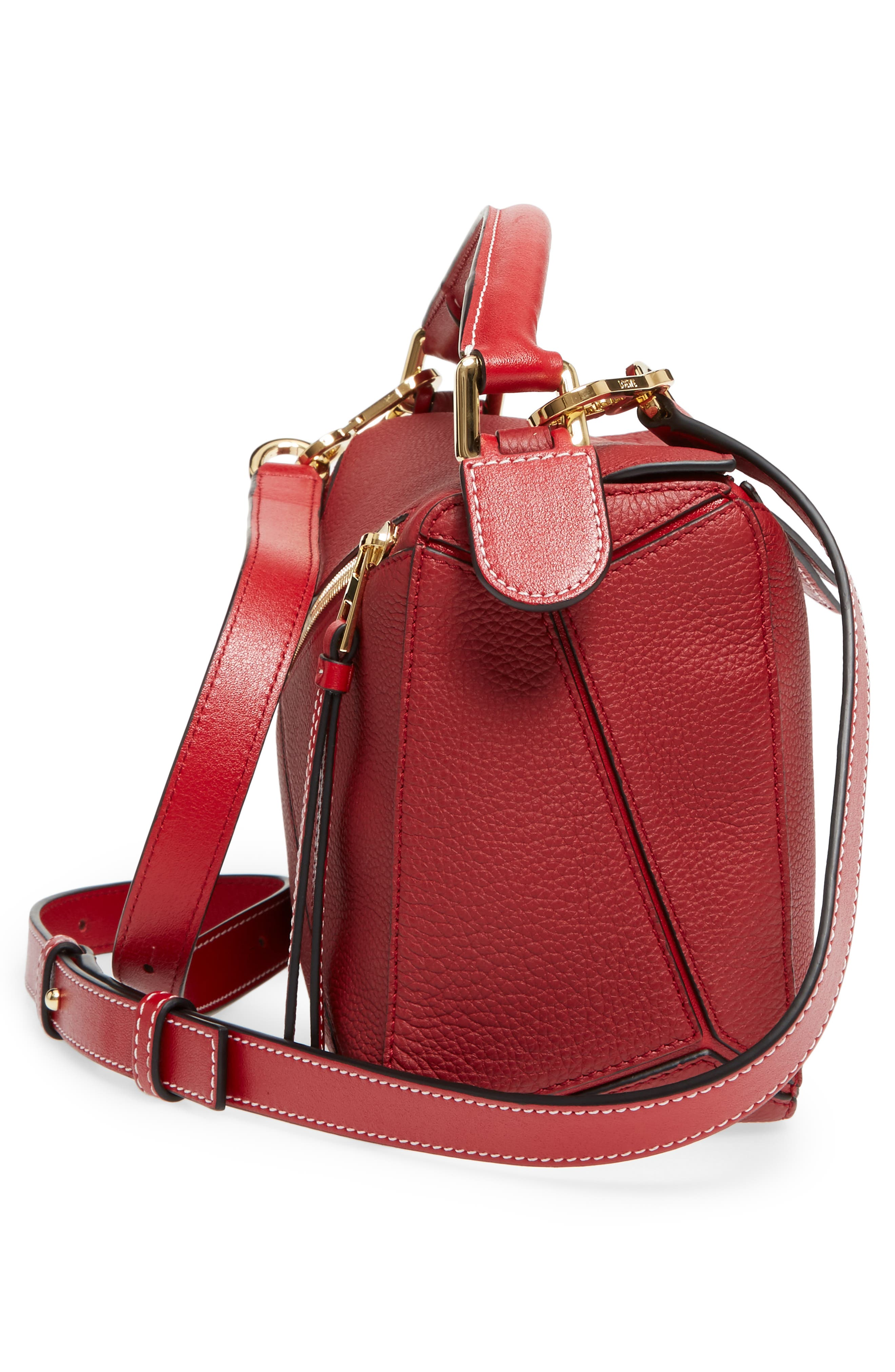 Small Puzzle Leather Shoulder Bag,                             Alternate thumbnail 5, color,                             Rouge