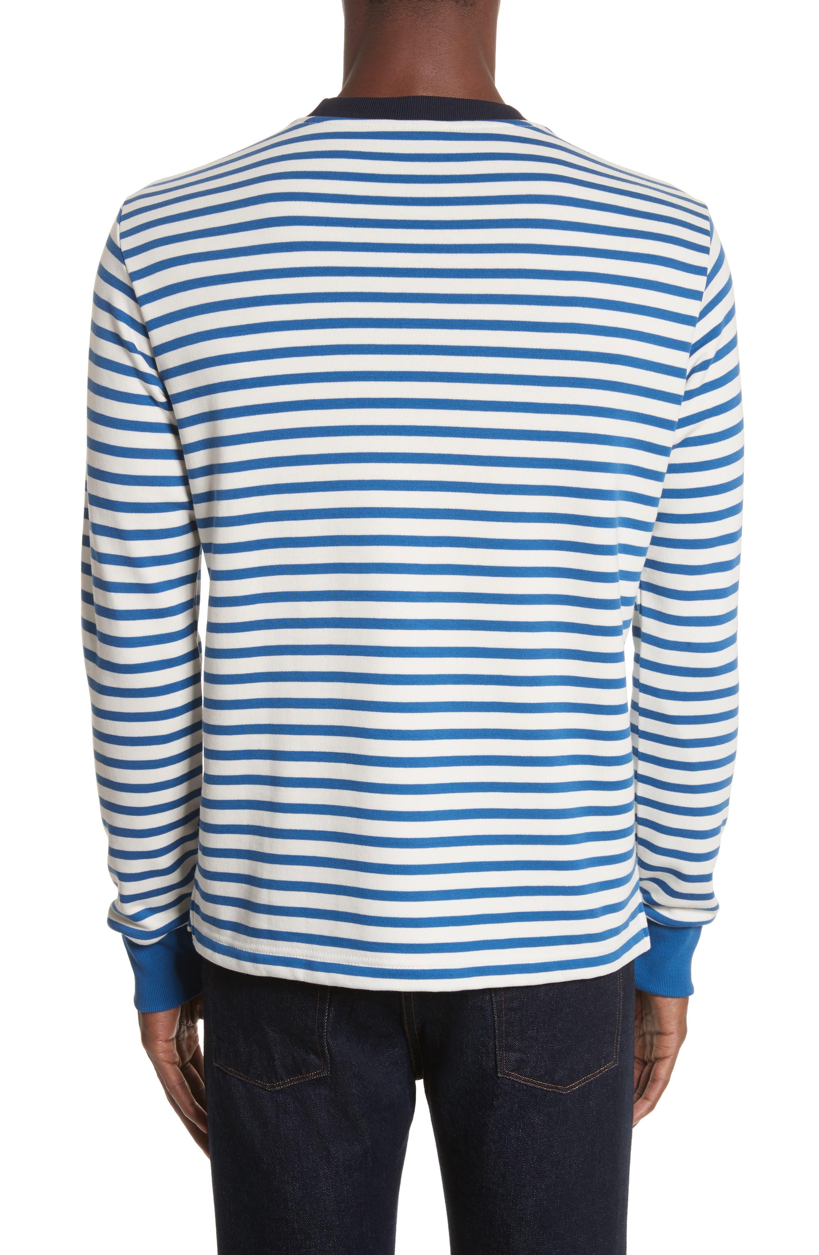 Stripe Crewneck Sweatshirt,                             Alternate thumbnail 2, color,                             Indigo
