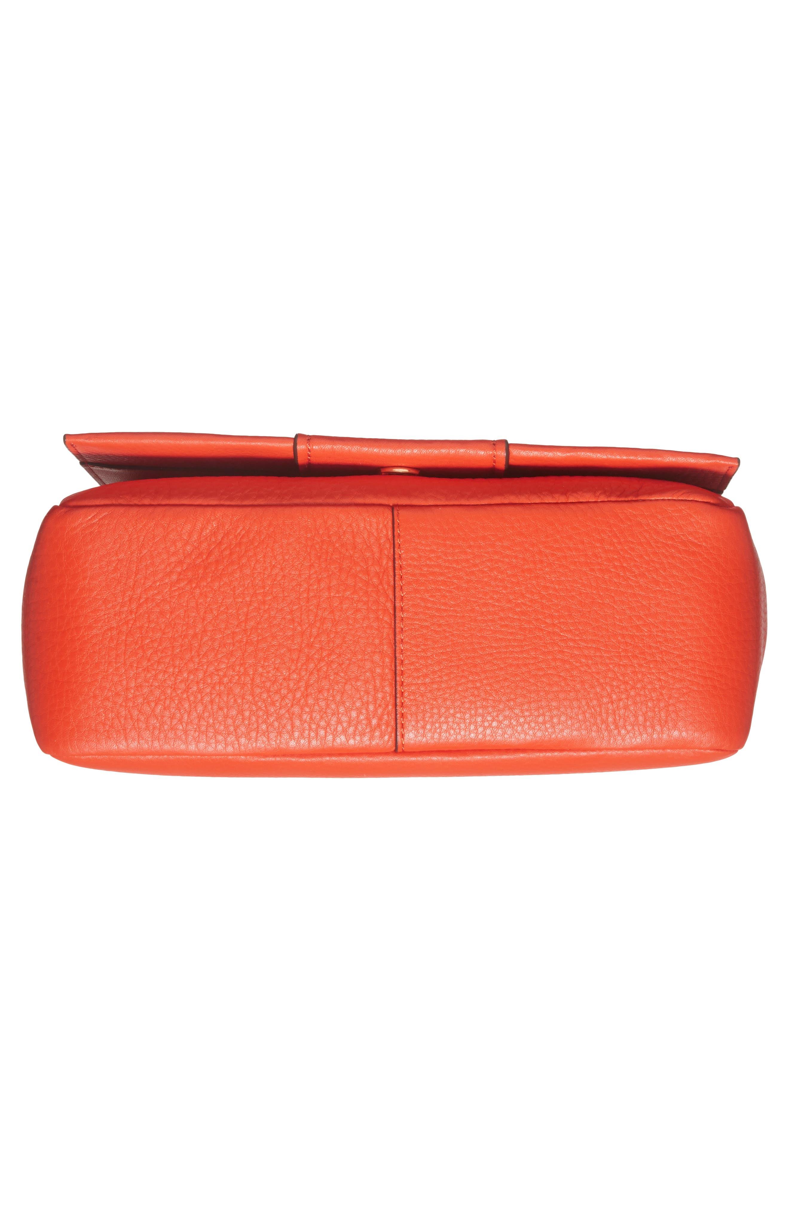 Block-T Pebbled Leather Shoulder Bag,                             Alternate thumbnail 6, color,                             Spicy Orange