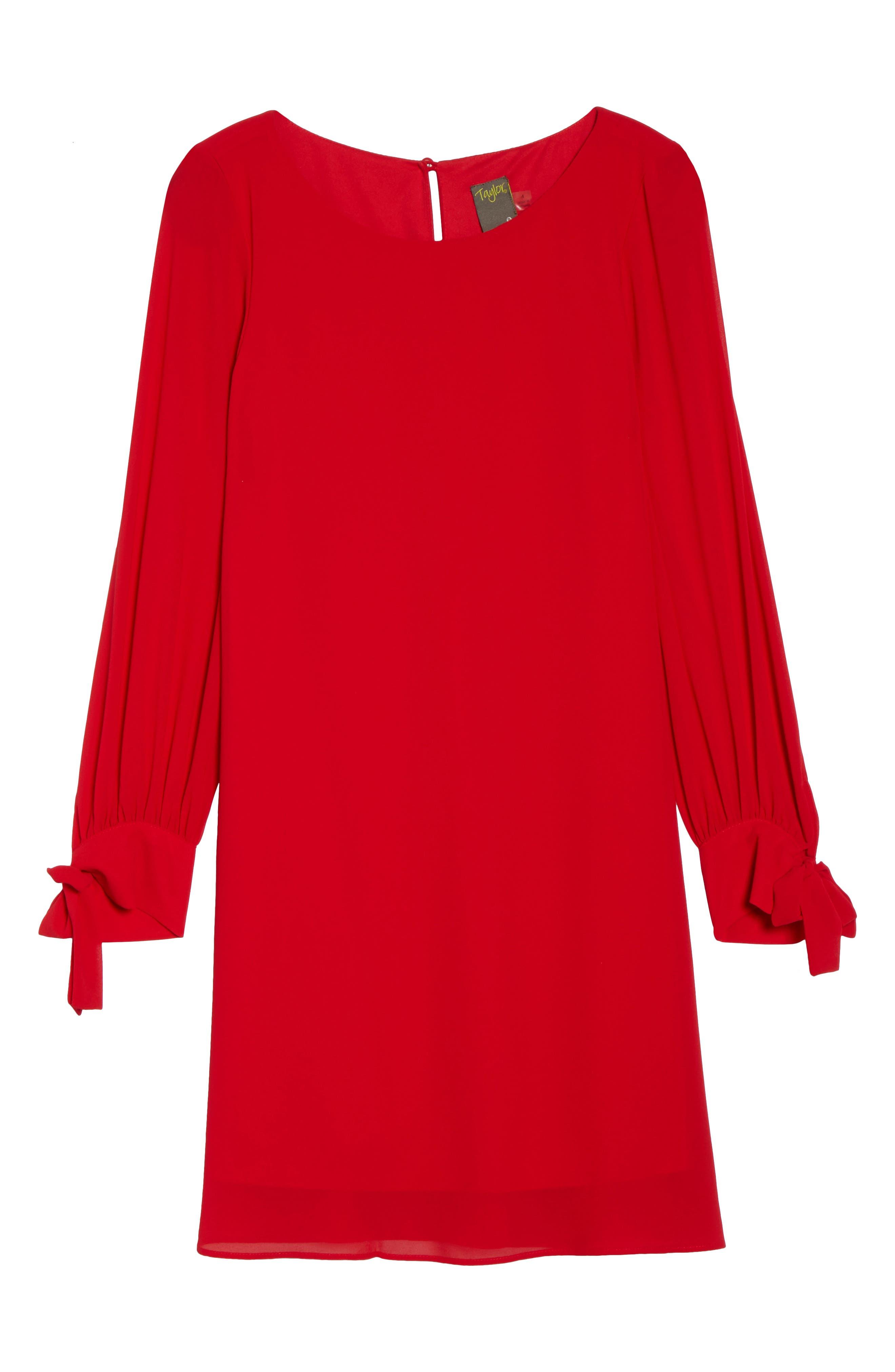 Souffle Chiffon Shift Dress,                             Alternate thumbnail 6, color,                             Crimson