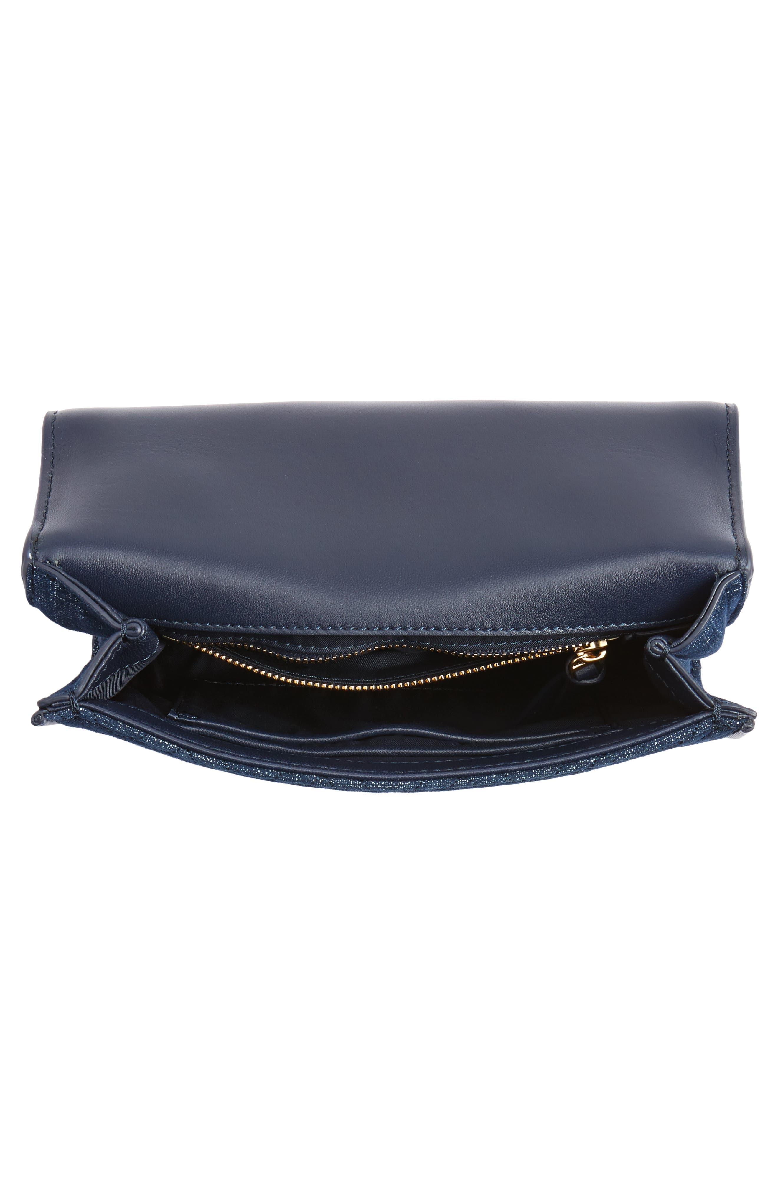 Small Fleming Logo Quilted Denim Shoulder/Crossbody Bag,                             Alternate thumbnail 4, color,                             Tory Navy