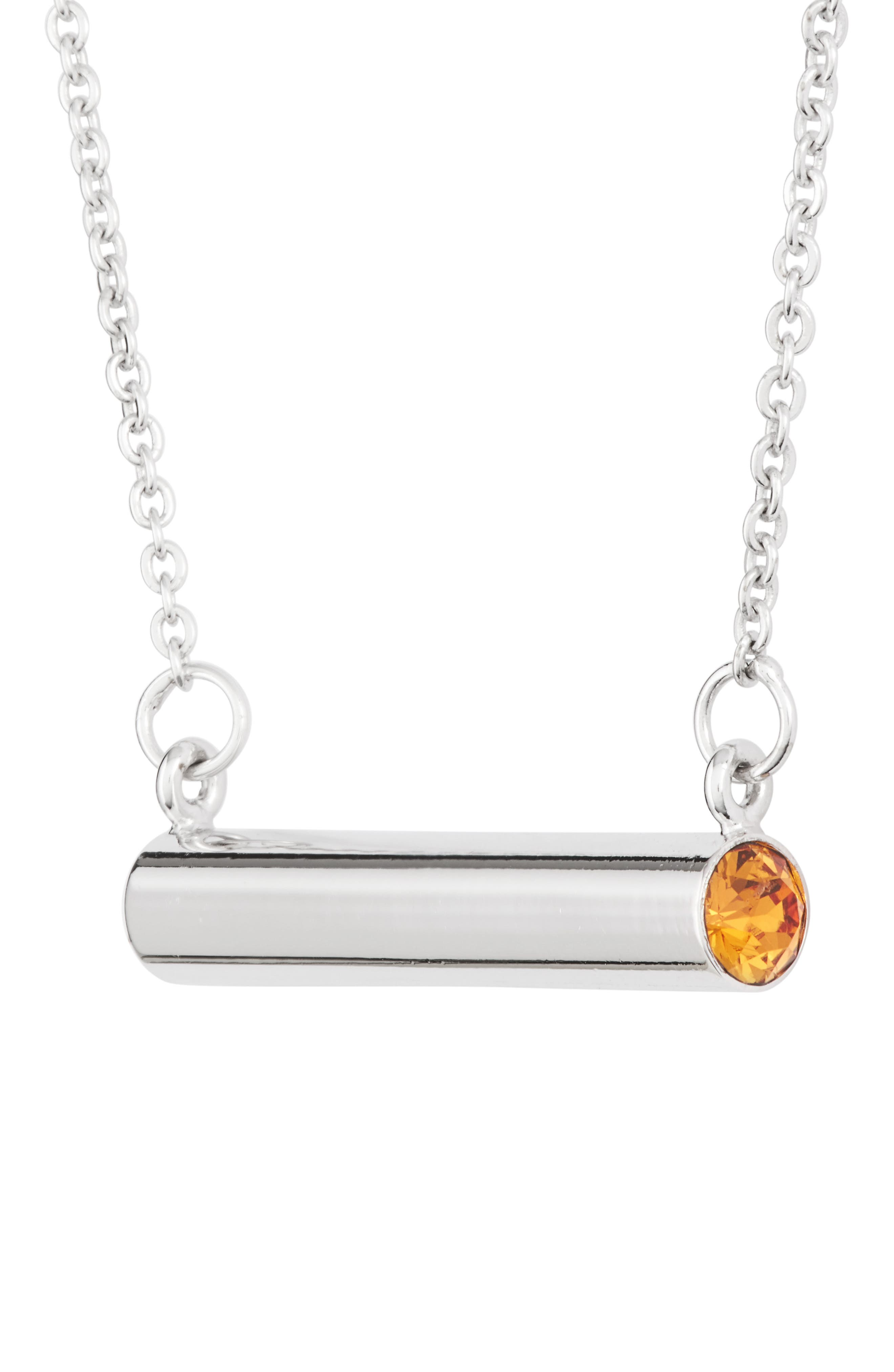 November Crystal Bar Pendant Necklace,                             Alternate thumbnail 3, color,                             Silver