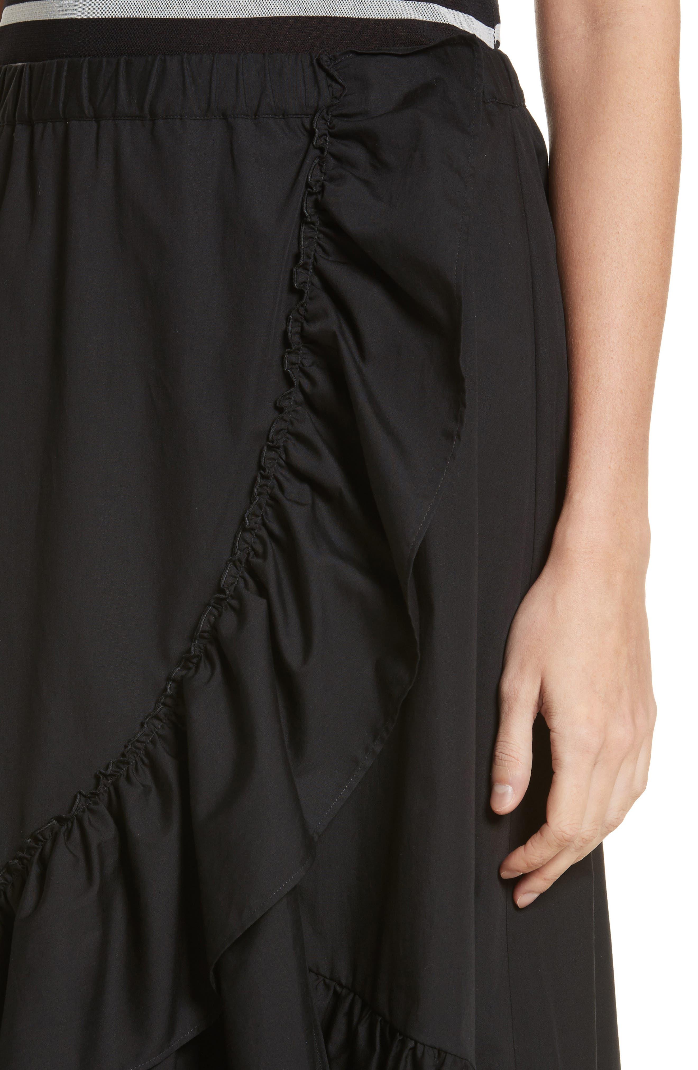 Ruffled Poplin Skirt,                             Alternate thumbnail 4, color,                             Nero