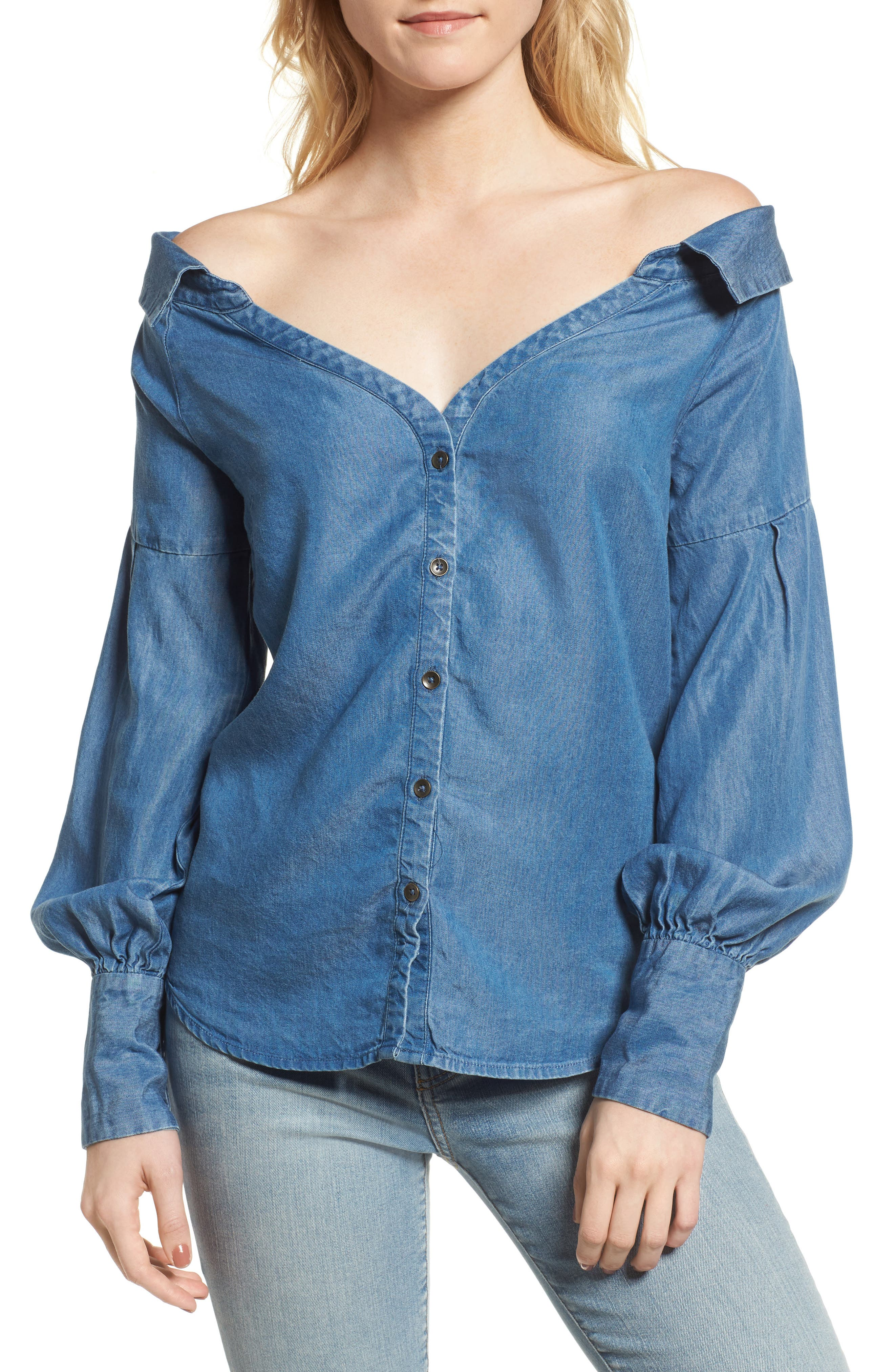 Off the Shoulder Chambray Top,                         Main,                         color, Med Wash