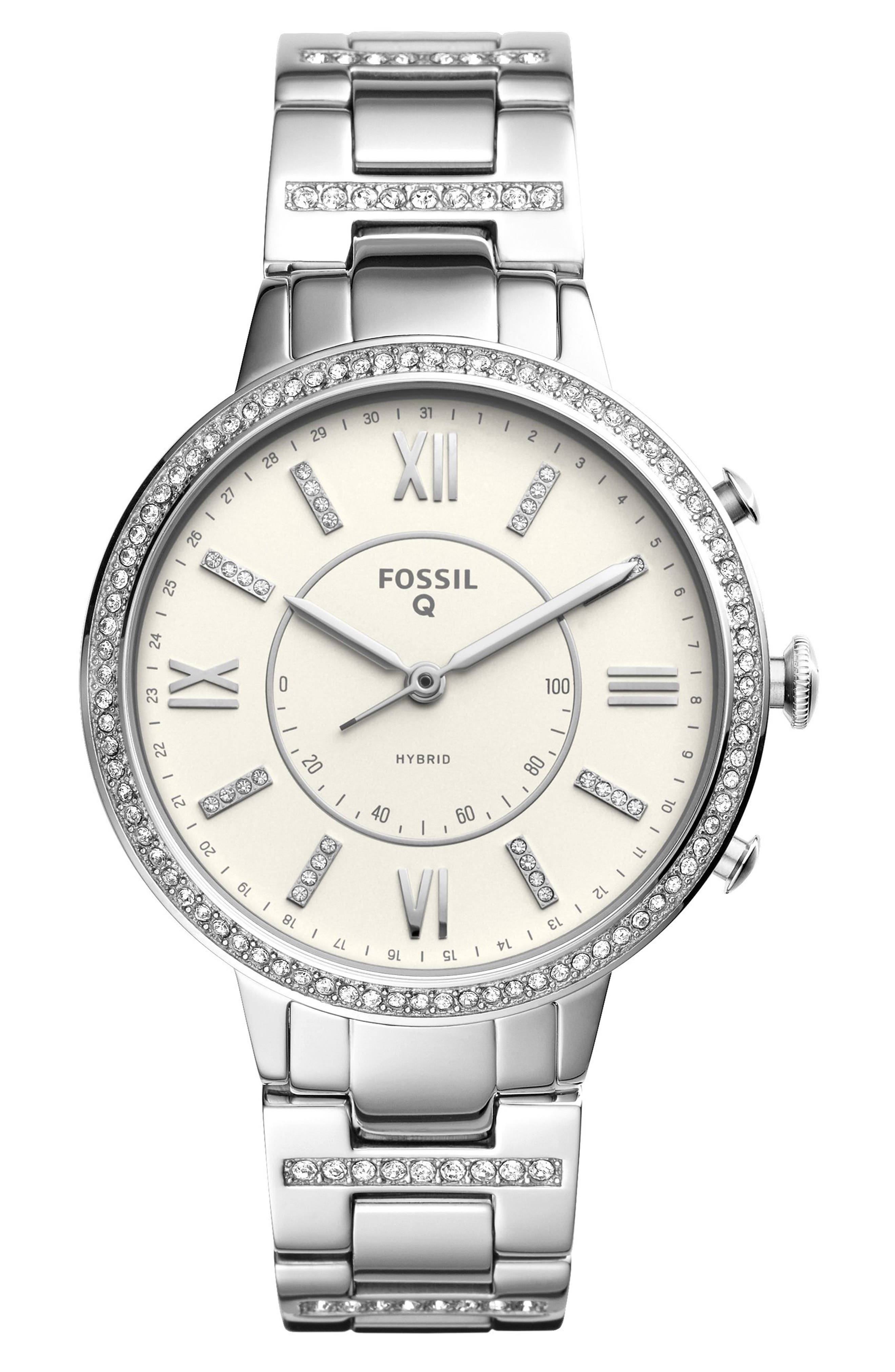 Virginia Crystal Accent Hybrid Bracelet Smart Watch, 36mm,                         Main,                         color, Silver/ White/ Silver
