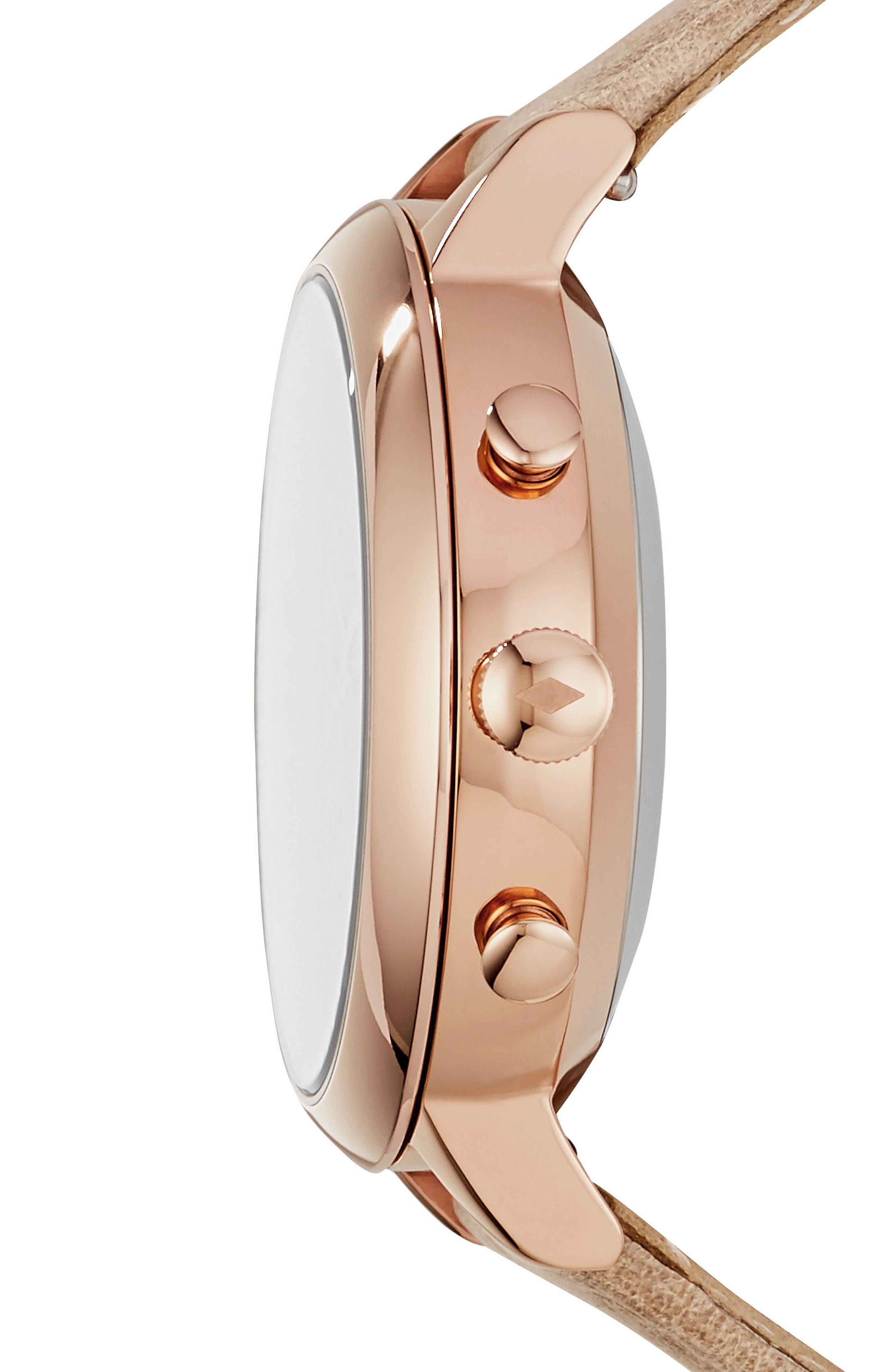 Jacqueline Leather Strap Hybrid Smart Watch, 36mm,                             Alternate thumbnail 3, color,                             Beige/ White/ Rose Gold