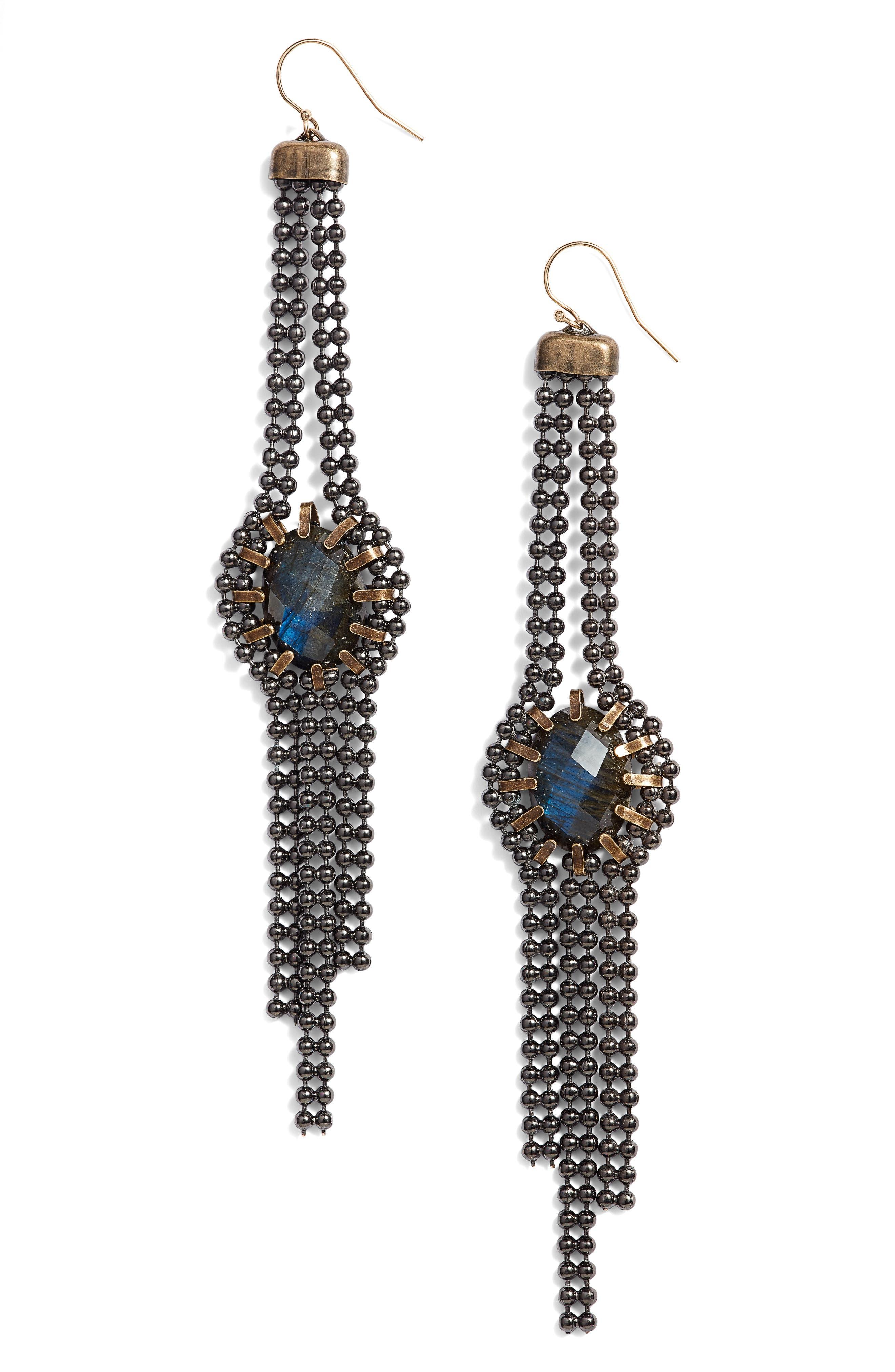 Labradorite Drop Earrings,                         Main,                         color, Bronze/ Blue/ Gunmetal