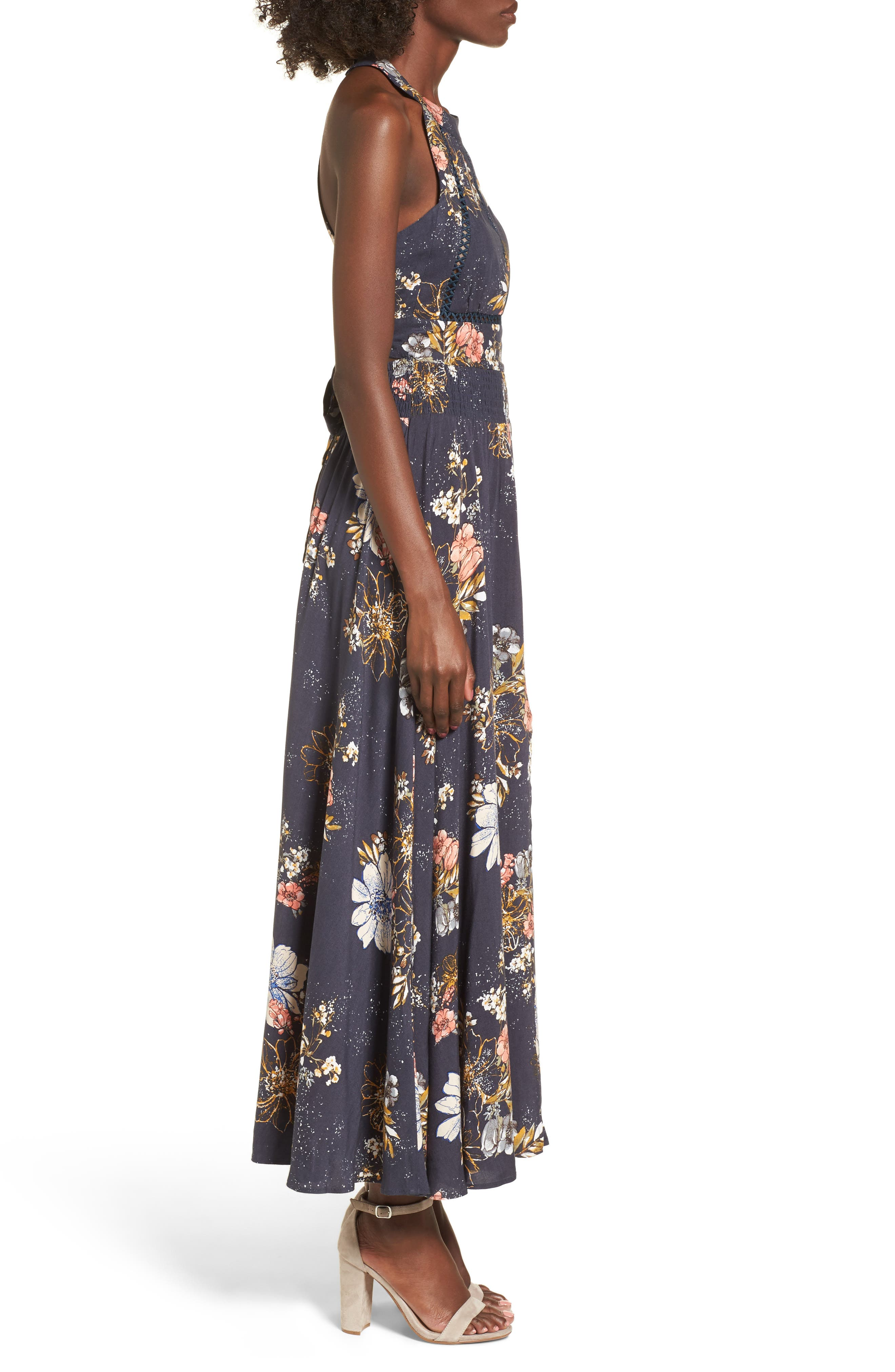 Floral Print Halter Maxi Dress,                             Alternate thumbnail 3, color,                             Navy Egret Abstract Floral