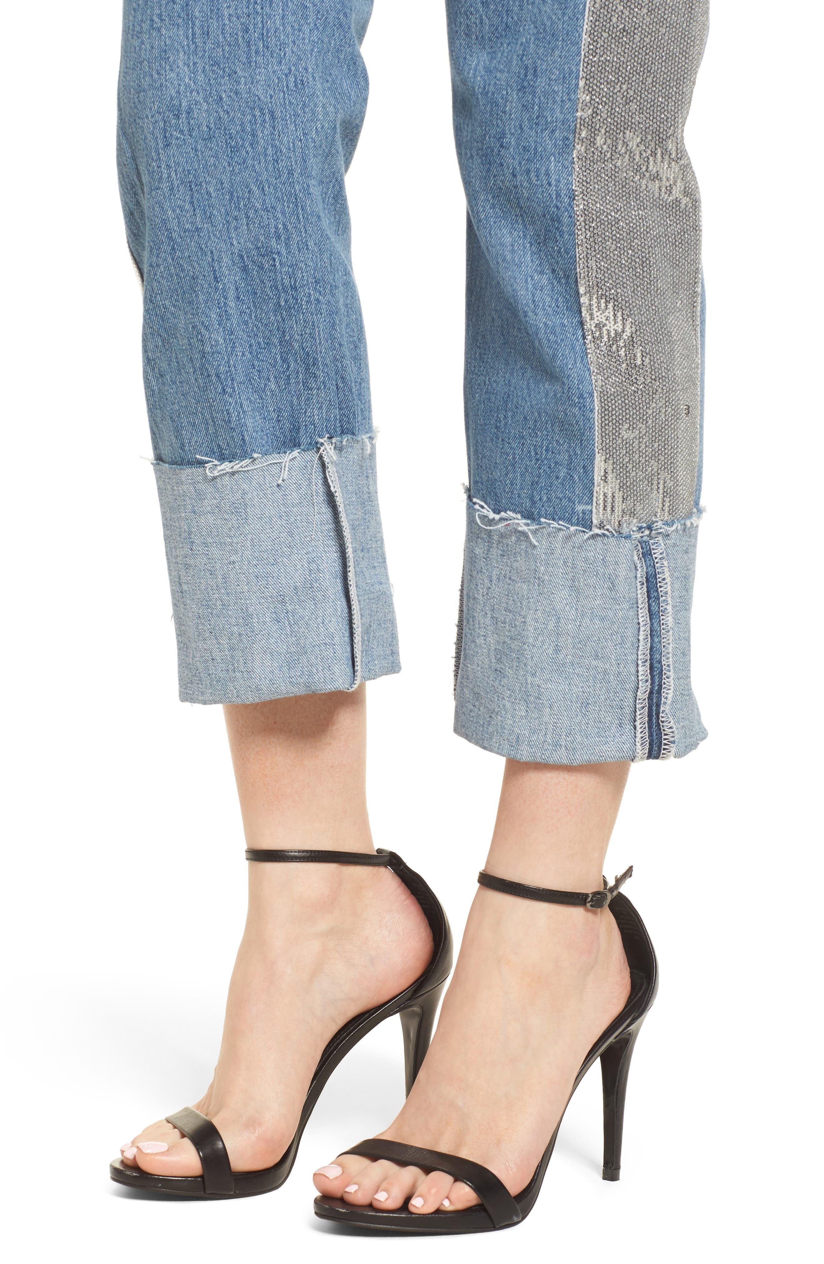 Sequin Boyfriend Jeans,                             Alternate thumbnail 4, color,                             Medium Wash/ Silver
