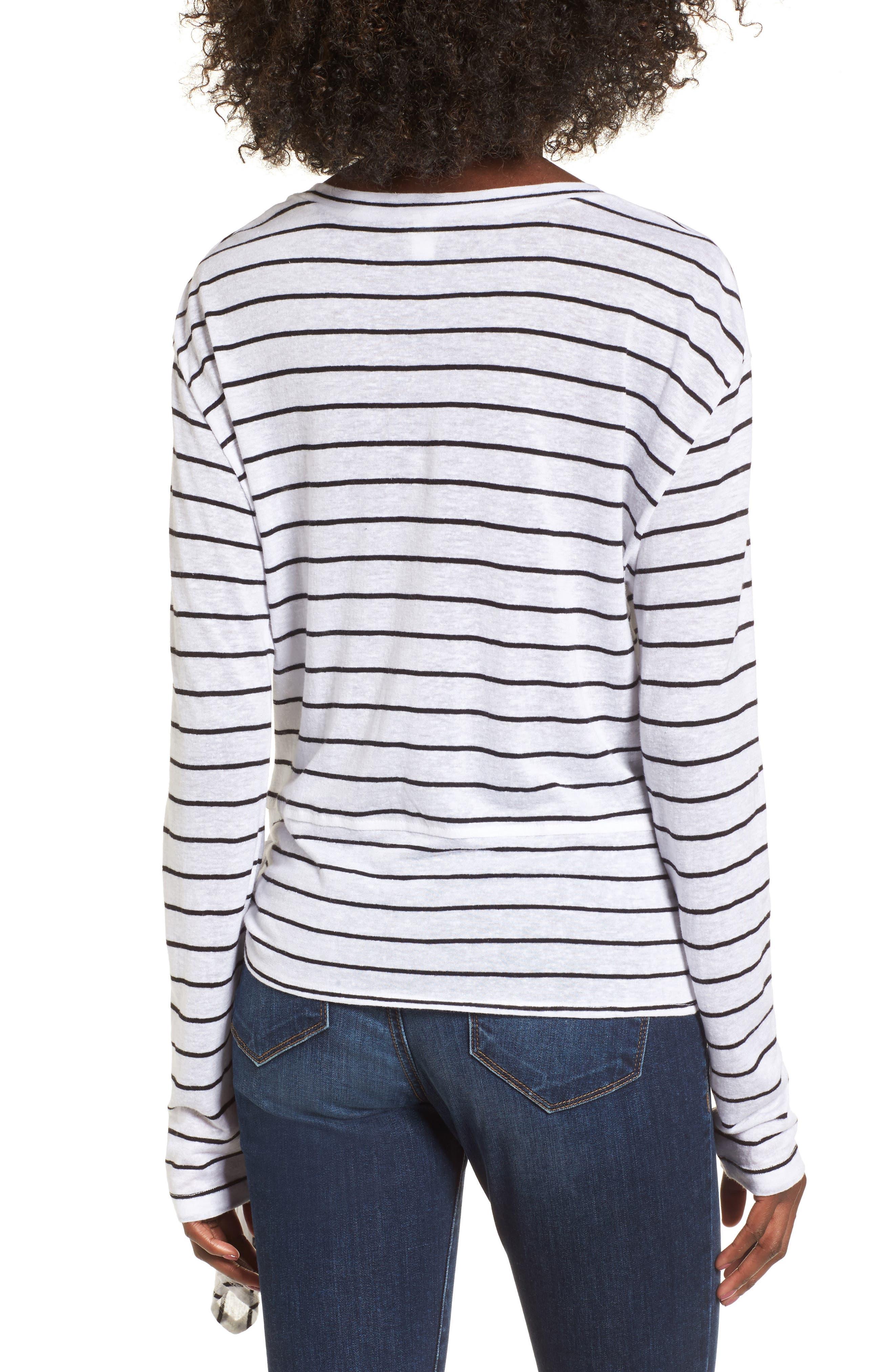 Side Tie Stripe Tee,                             Alternate thumbnail 2, color,                             White Jenna Stripe