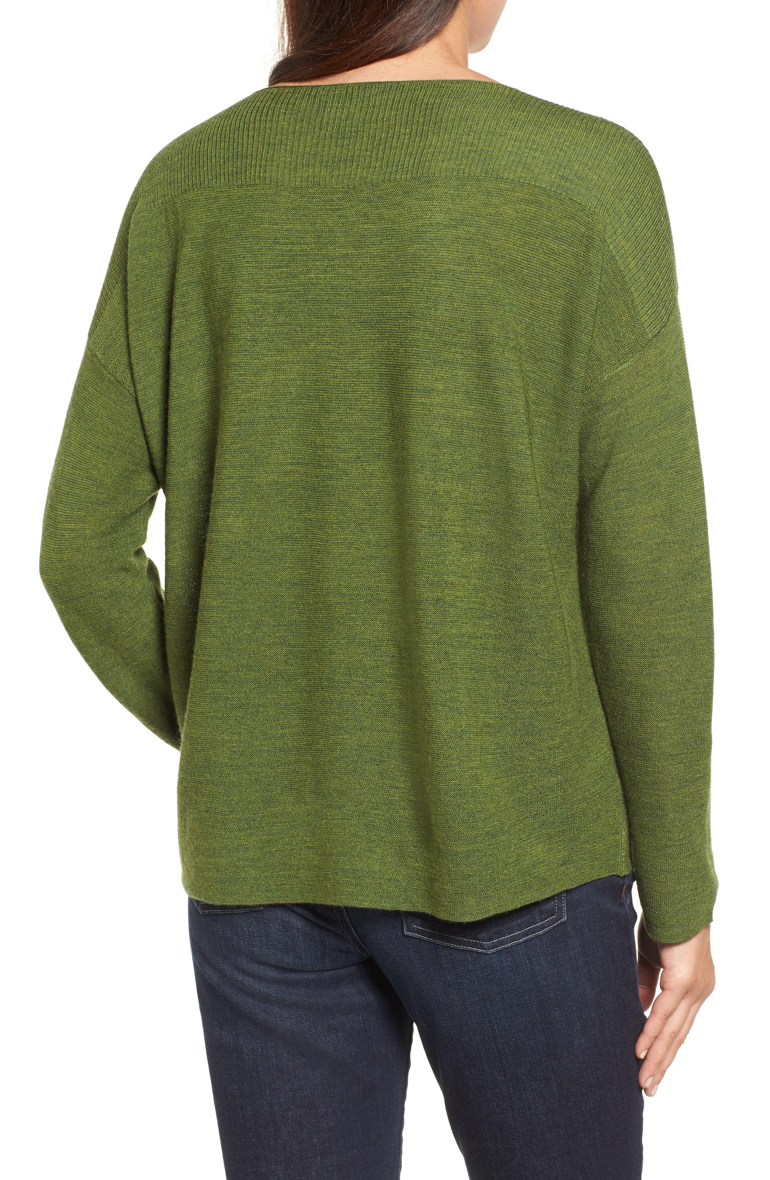 Alternate Image 2  - Eileen Fisher Mix Stitch Merino Bateau Neck Sweater (Regular & Petite)