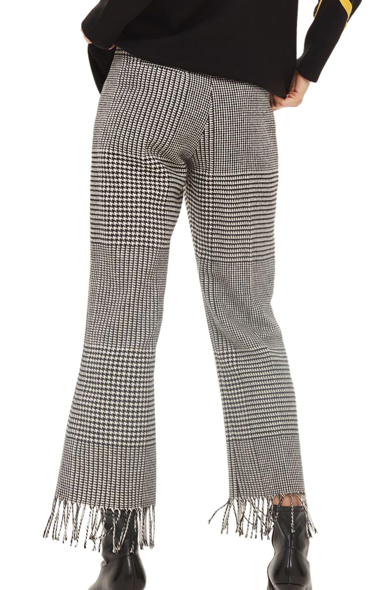 Fringe Hem Check Trousers,                             Alternate thumbnail 2, color,                             Black Multi