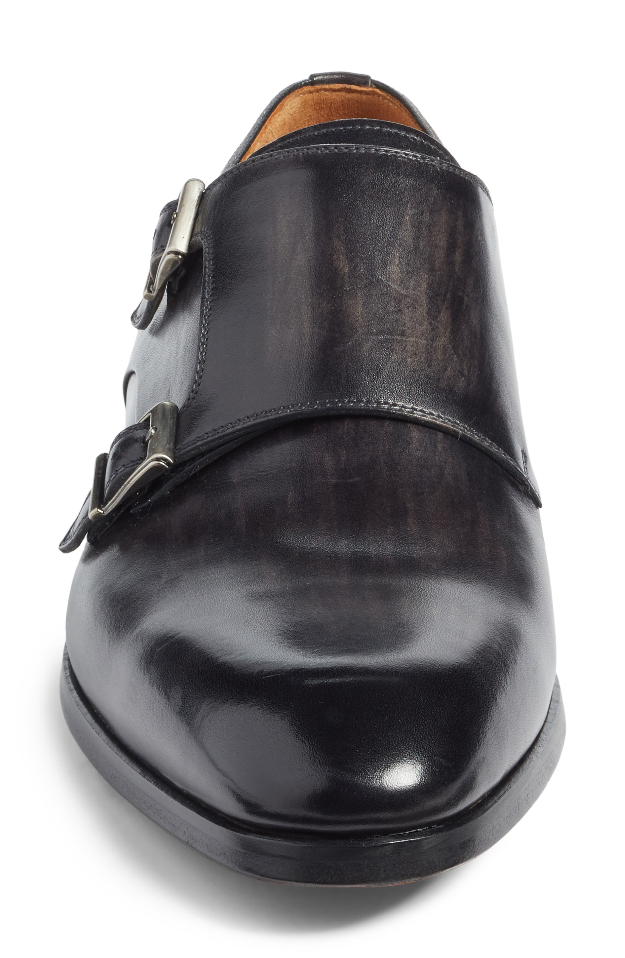 Lucio Double Strap Monk Shoe,                             Alternate thumbnail 4, color,                             Light Grey Leather