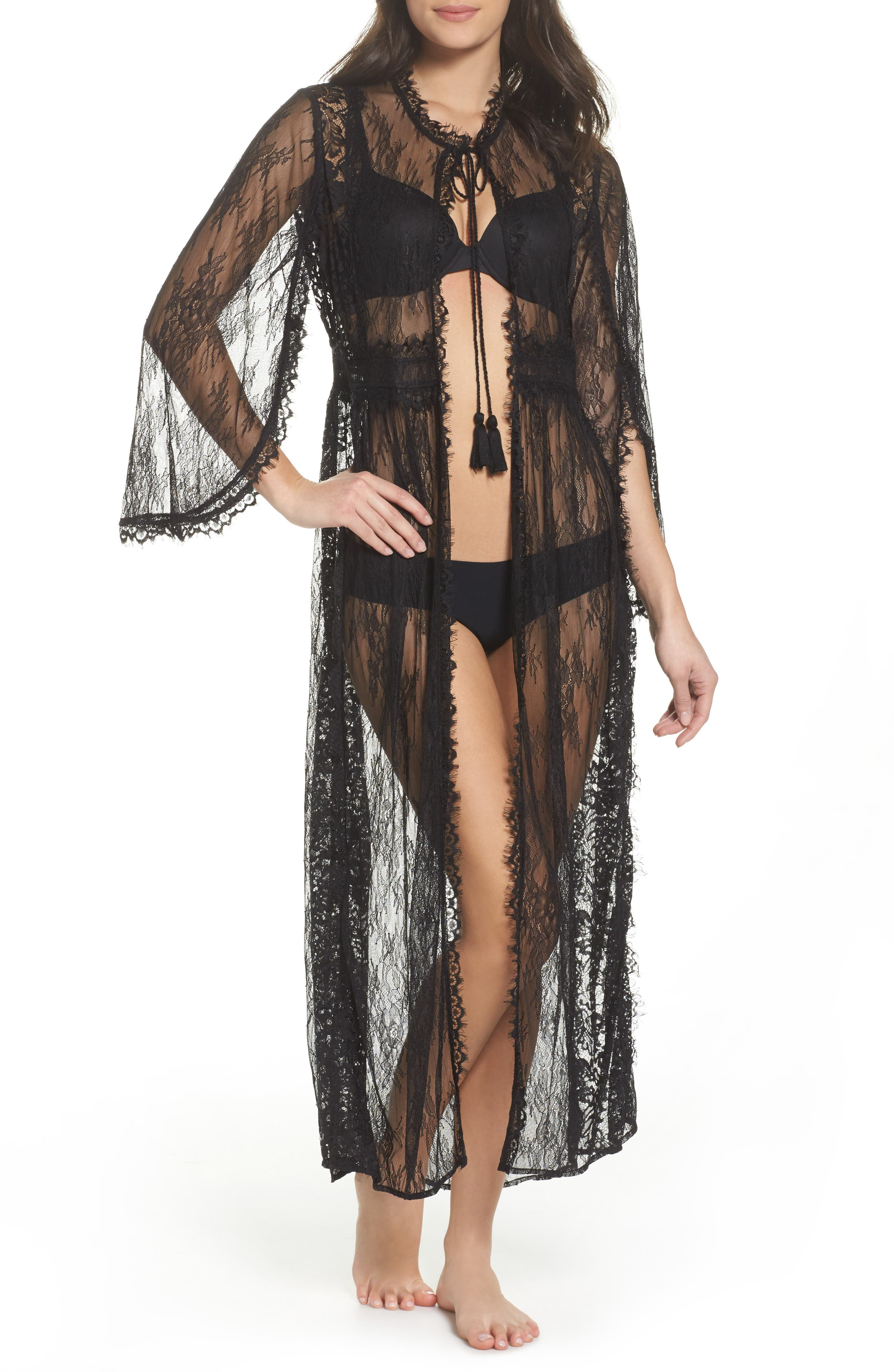 Intimately FP Chelsea Lace Robe,                         Main,                         color, Black
