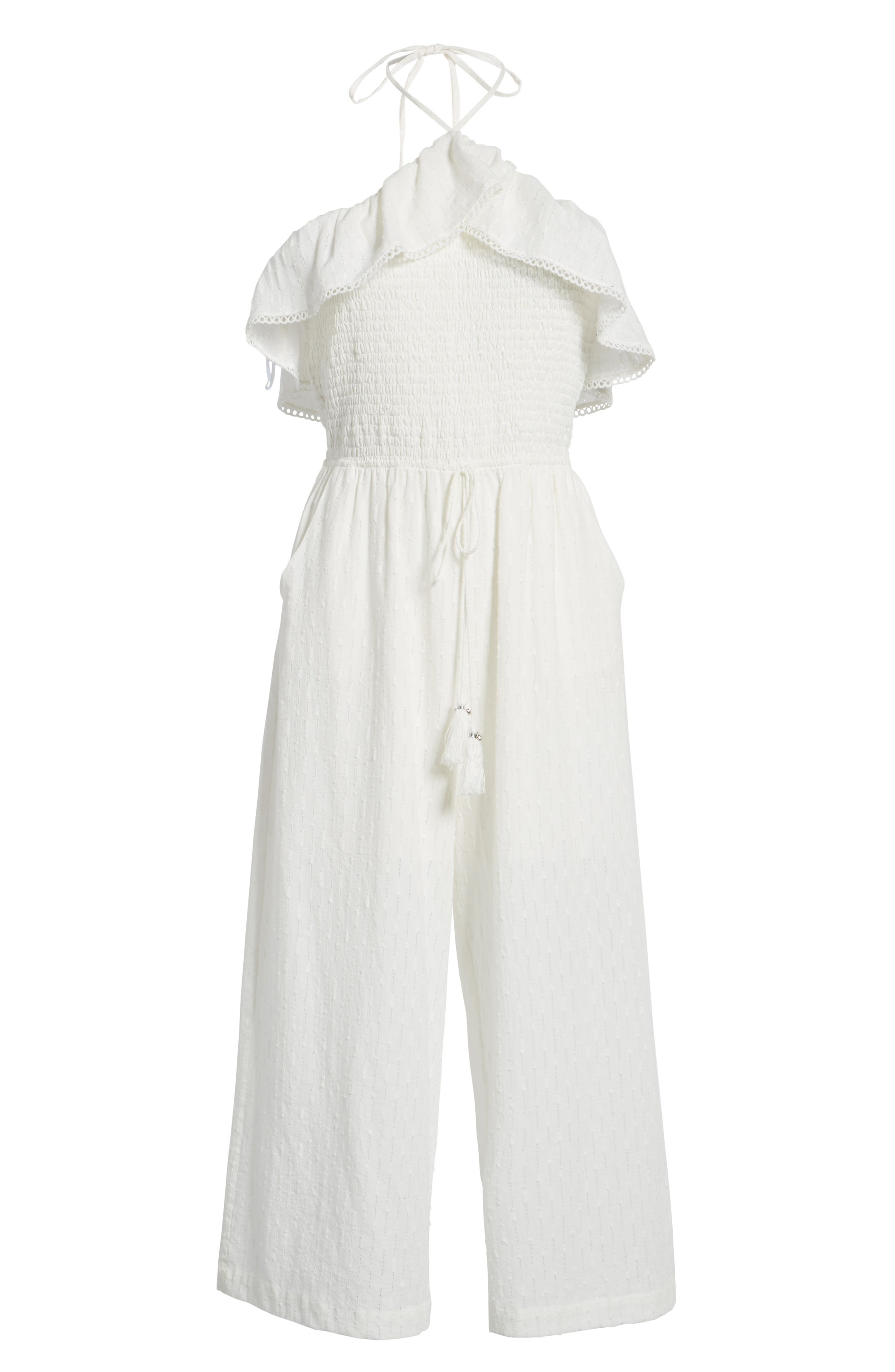Coco Smocked Ruffle Off the Shoulder Jumpsuit,                             Alternate thumbnail 6, color,                             White