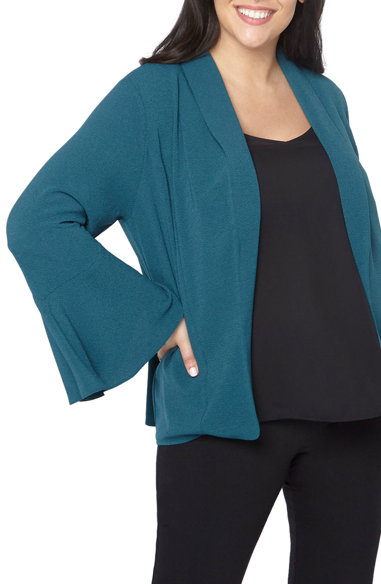 Bell Sleeve Crepe Jacket,                         Main,                         color, Teal