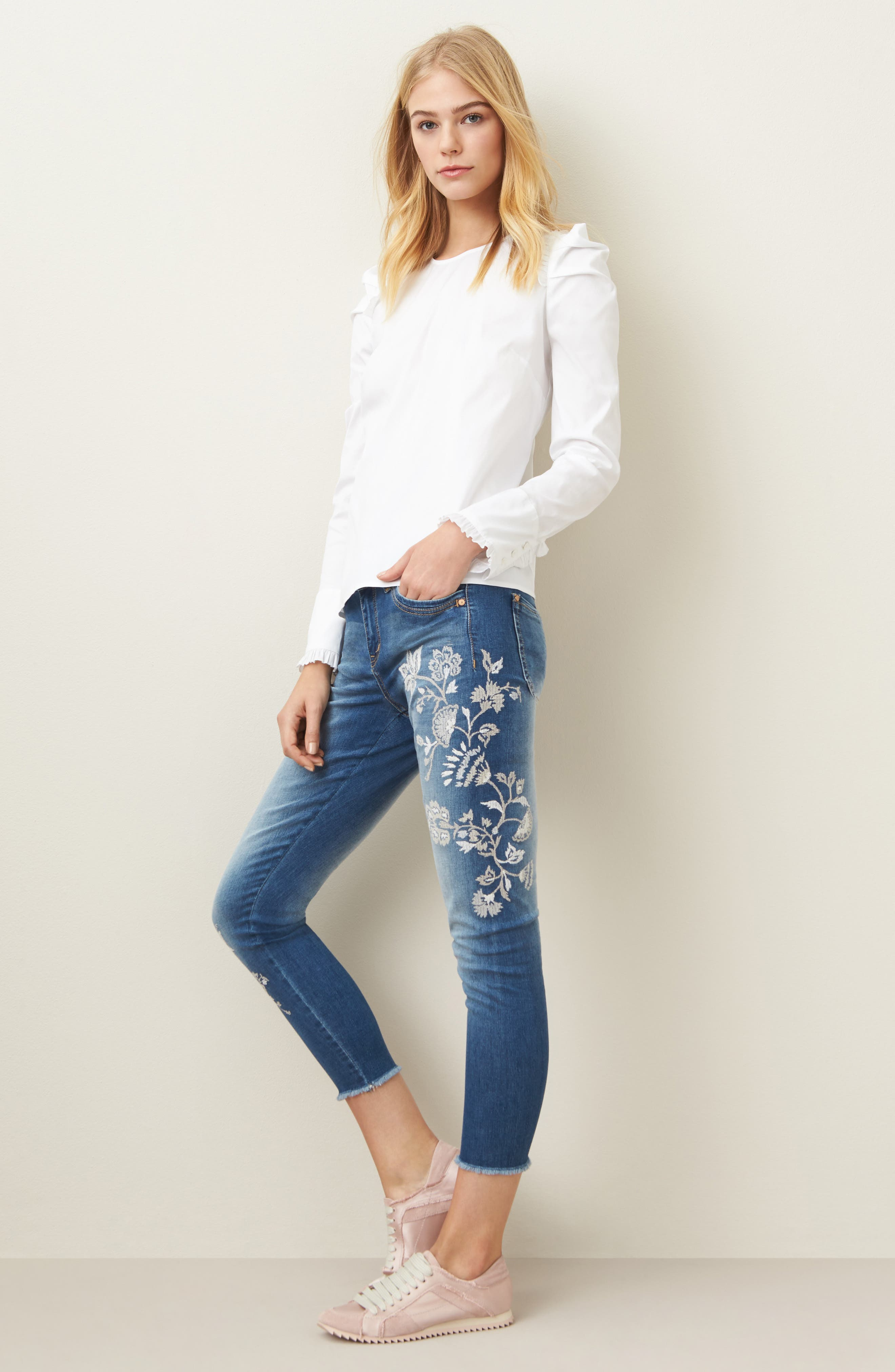 Alternate Image 2  - Wit & Wisdom Embroidered Frayed Hem Ankle Jeans (Nordstrom Exclusive) (Regular & Petite)