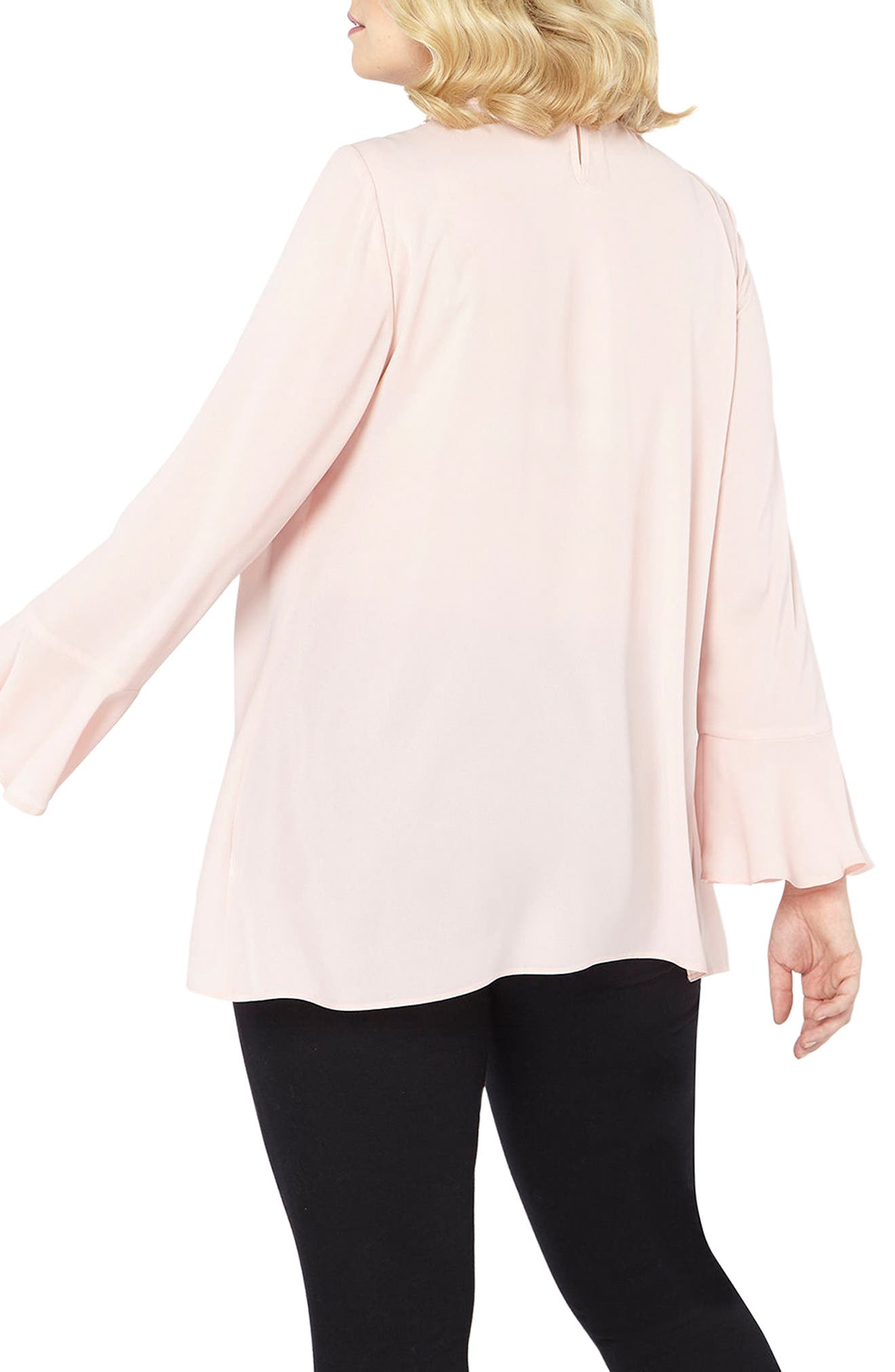 Alternate Image 2  - Evans Bell Sleeve Pearly Choker Neck Top (Plus Size)