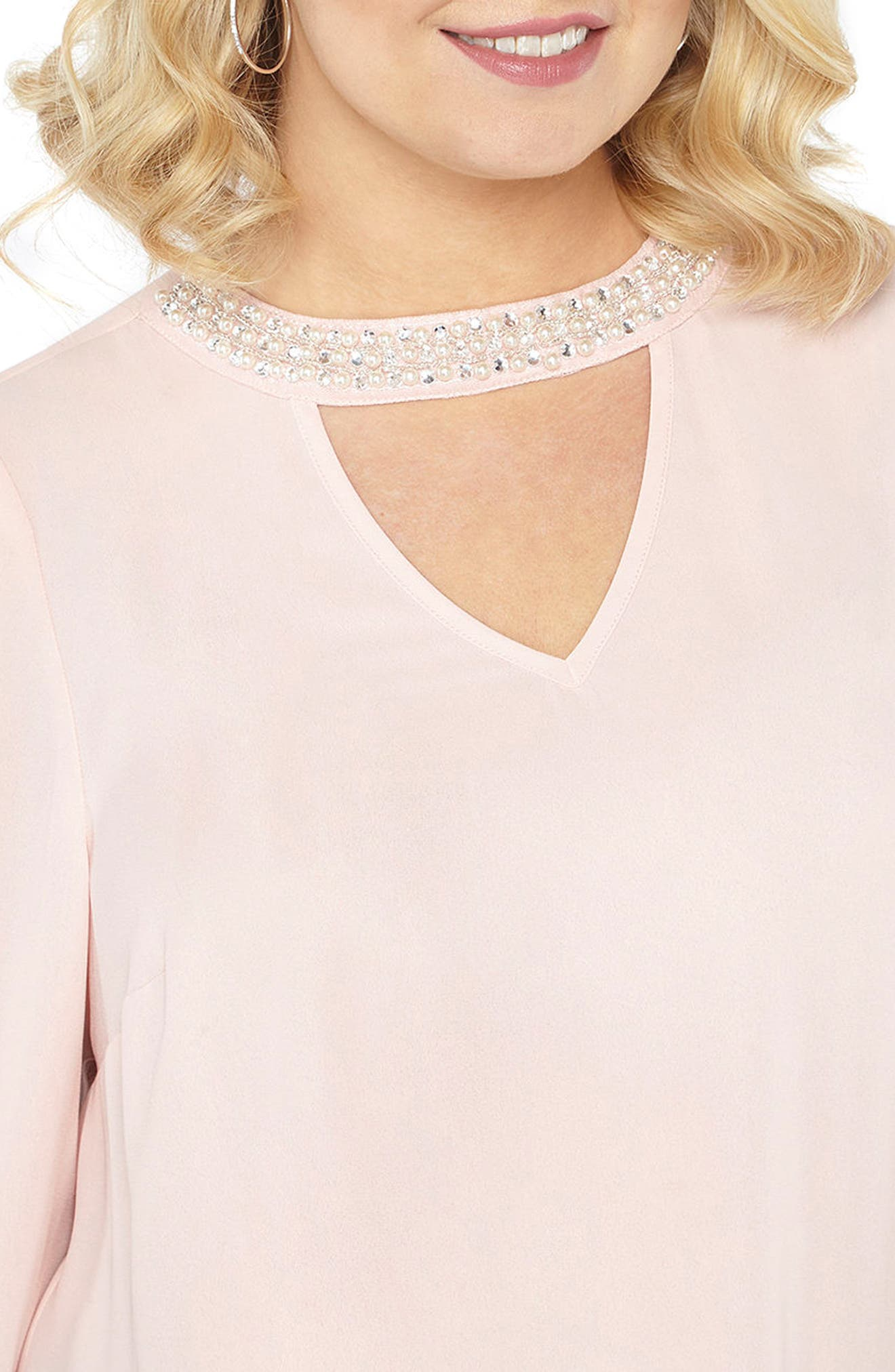 Alternate Image 4  - Evans Bell Sleeve Pearly Choker Neck Top (Plus Size)